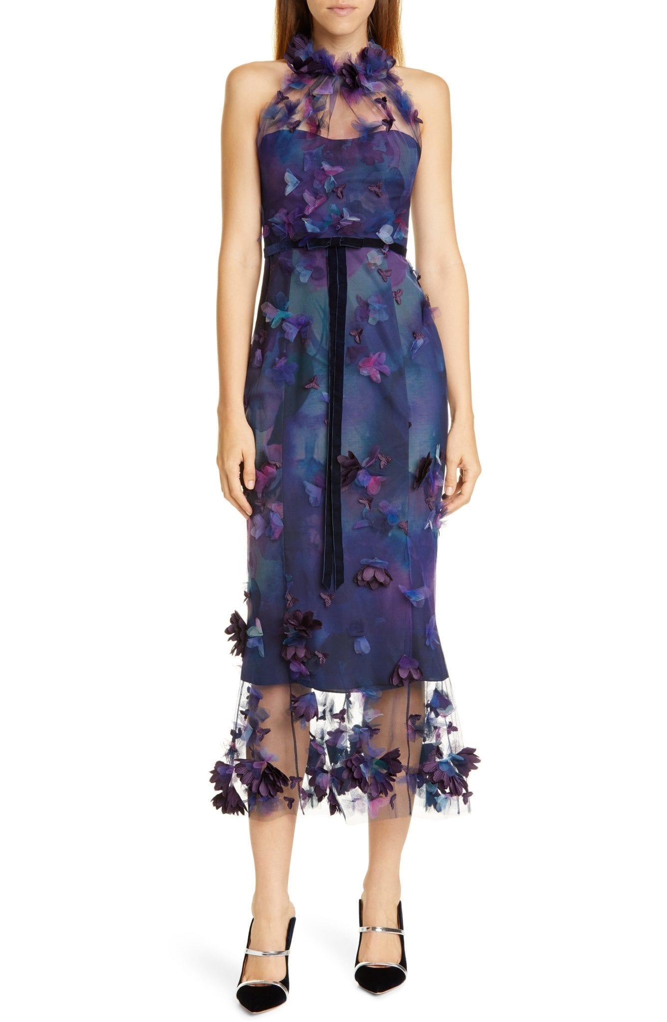 MARCHESA NOTTE Floral Appliqué Halter Tulle Cocktail Dress
