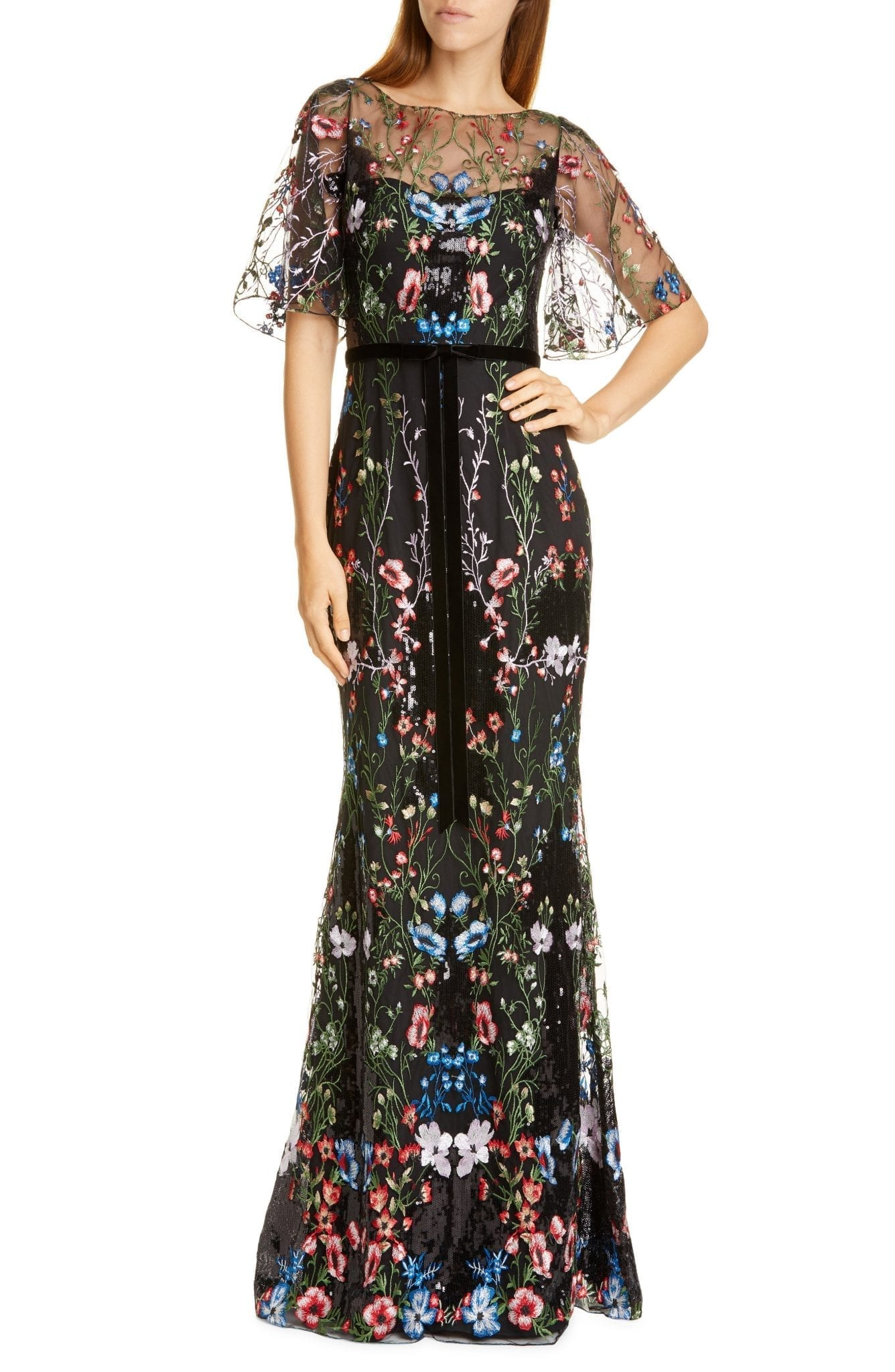 MARCHESA NOTTE Floral Tulle Overlay Trumpet Gown