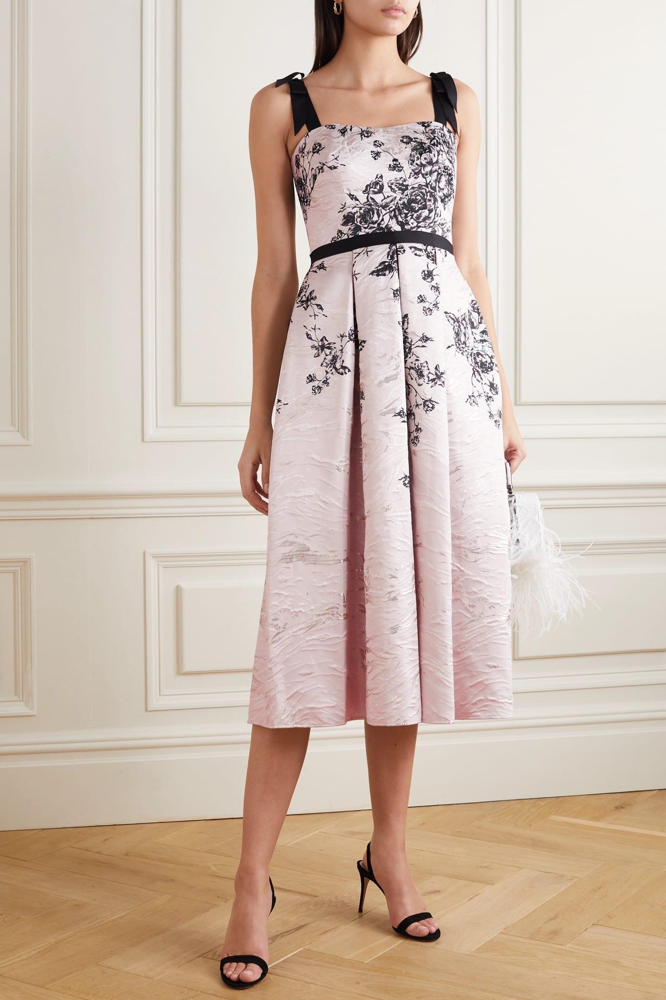 MARCHESA NOTTE Grosgrain-trimmed Metallic Floral-print Jacquard Midi Dress