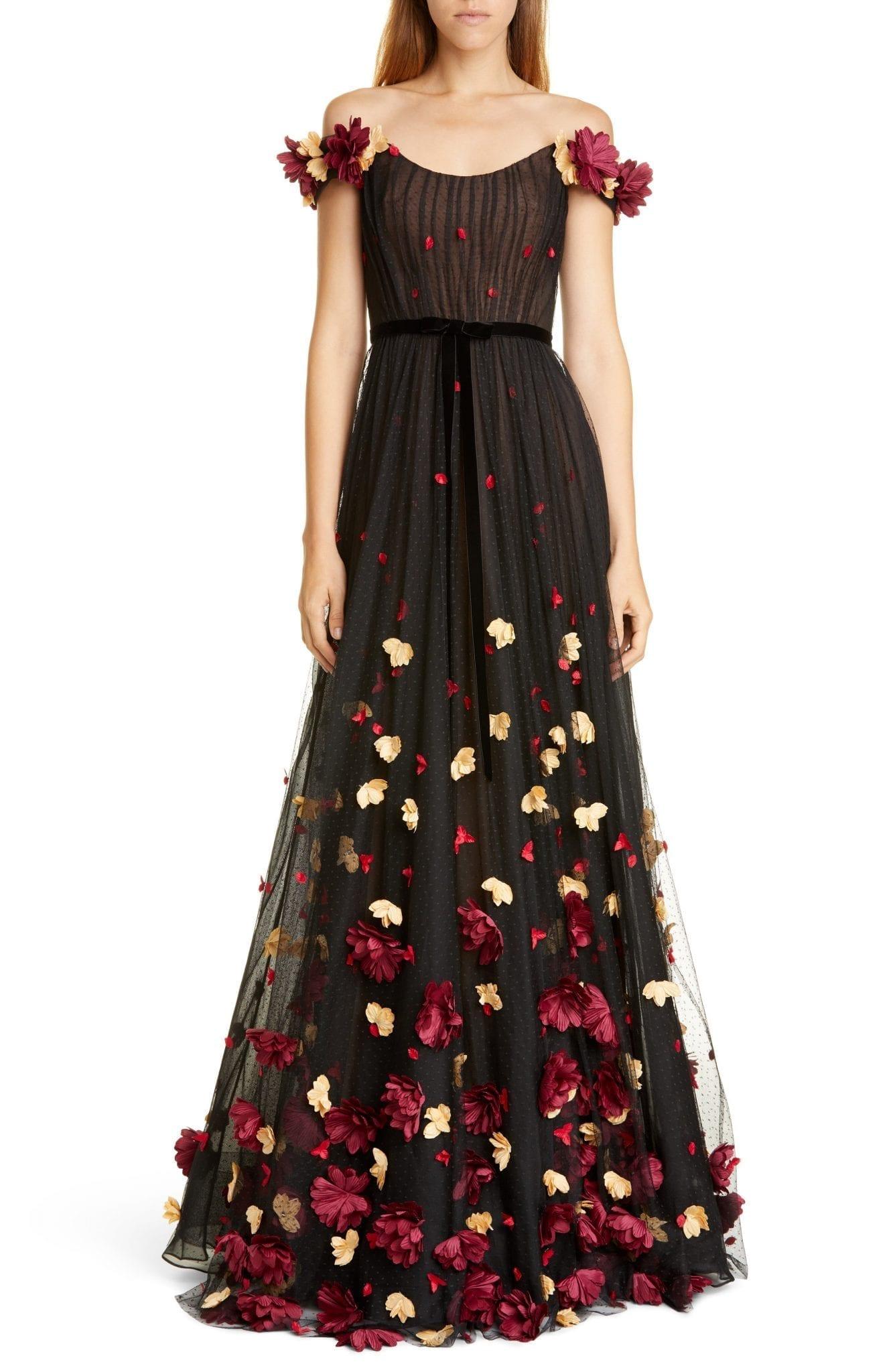 MARCHESA NOTTE Off the Shoulder Floral Appliqué Point d'Esprit Gown