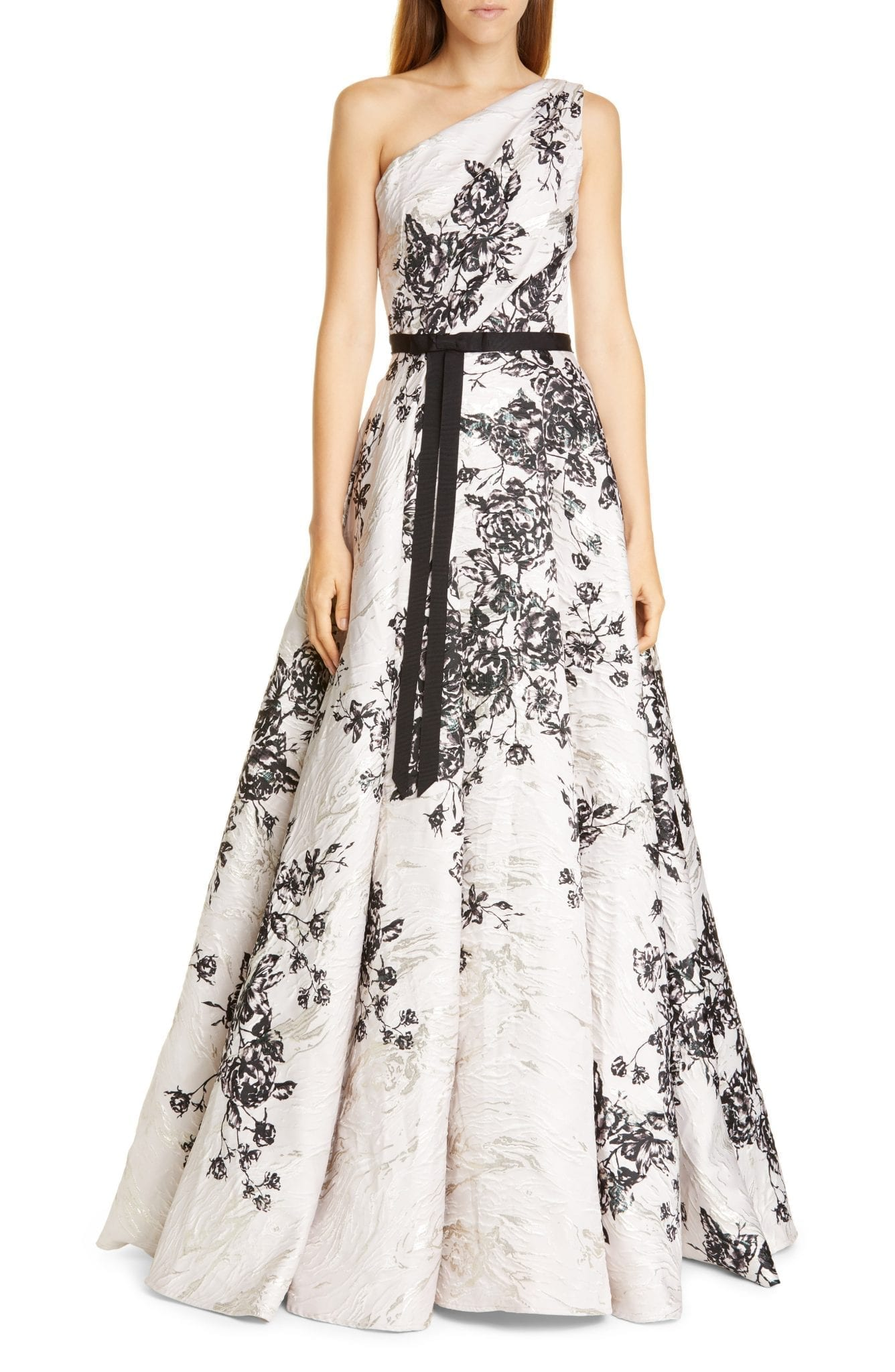 MARCHESA NOTTE One-Shoulder Metallic Floral Ball Gown