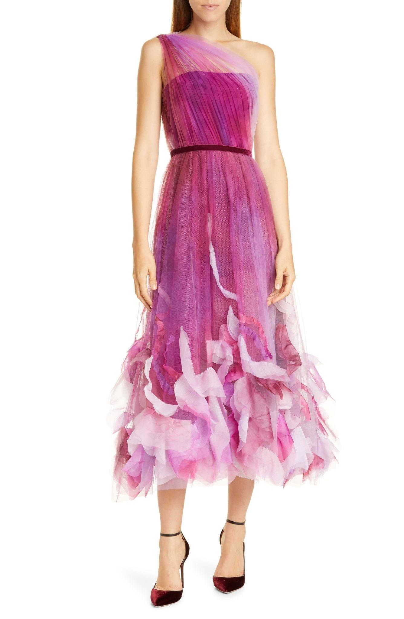 MARCHESA NOTTE One-Shoulder Tulle Cocktail Dress