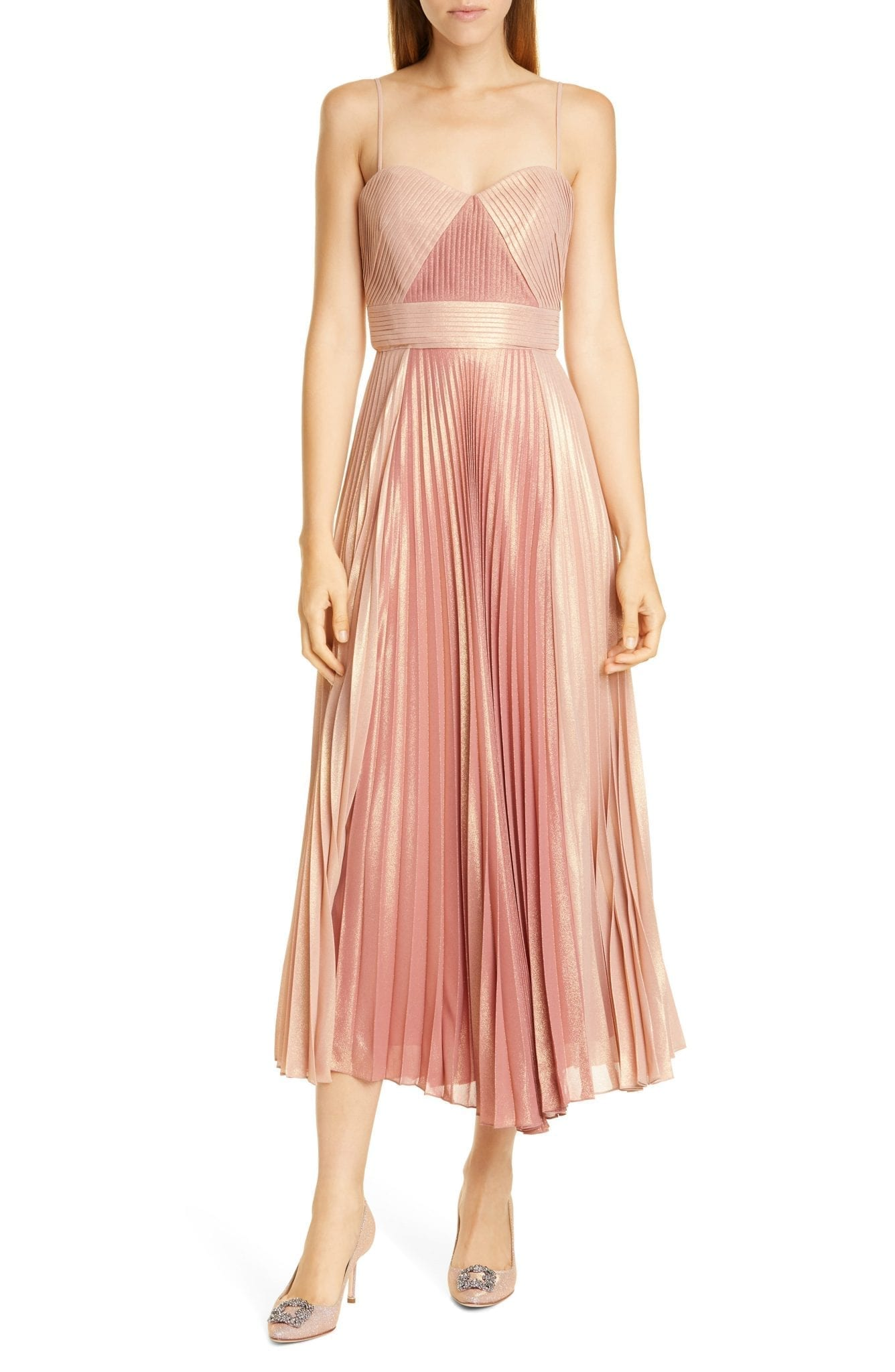 MARCHESA NOTTE Pleat A-Line Cocktail Dress