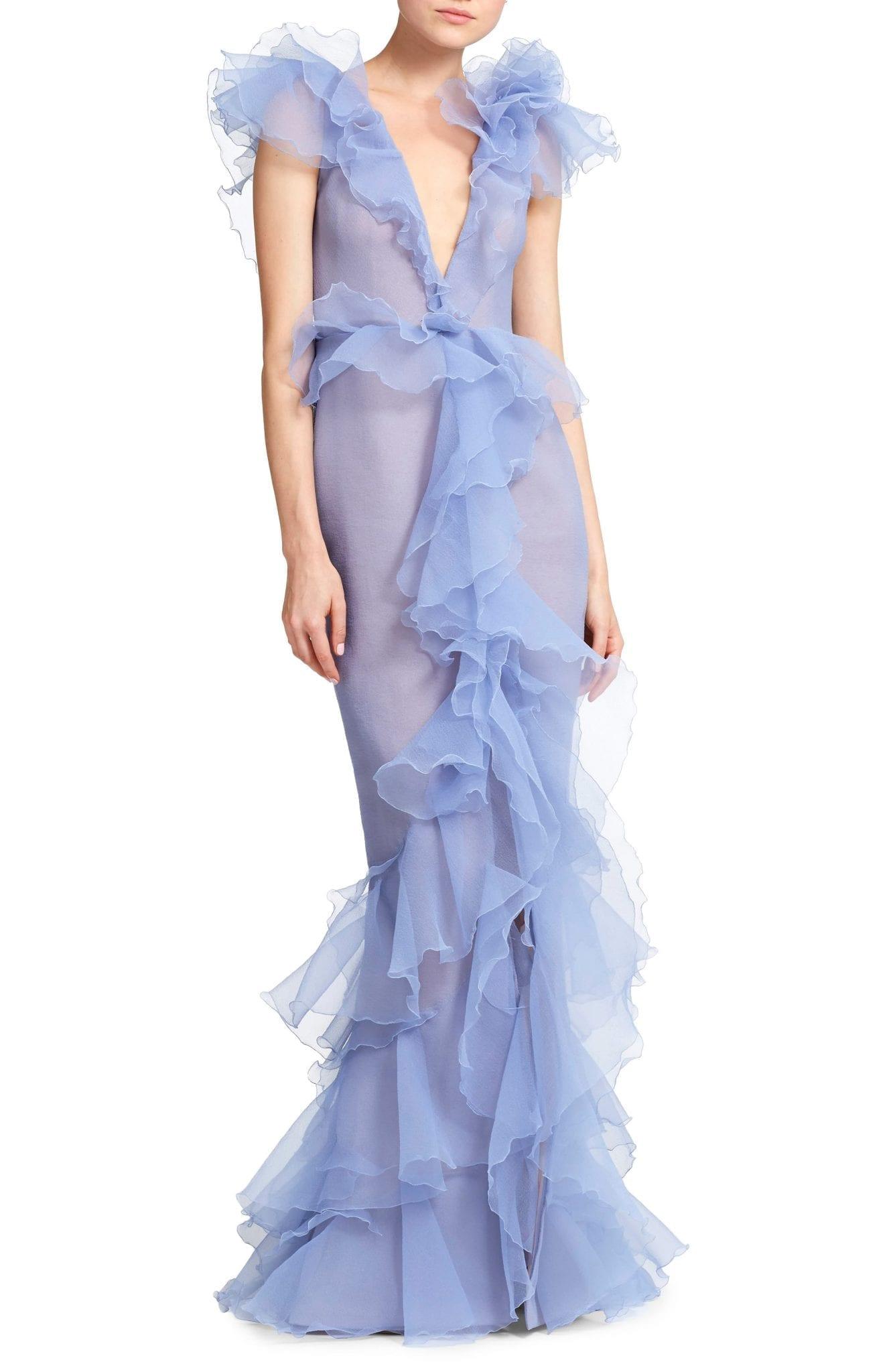 MARCHESA Ruffled Organza Evening Dress