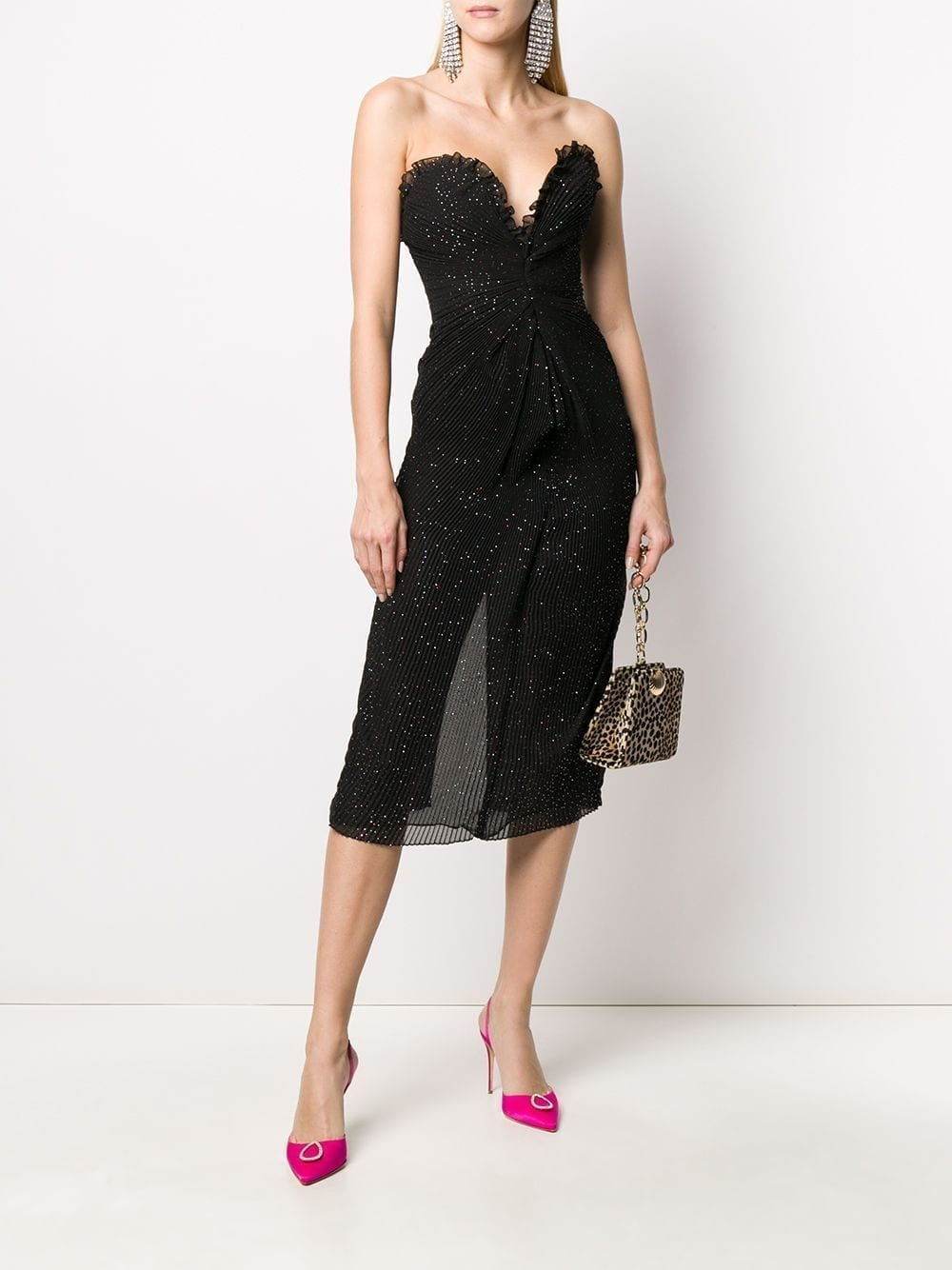 MARCO DE VINCENZO Glitter-embellished Strapless Dress