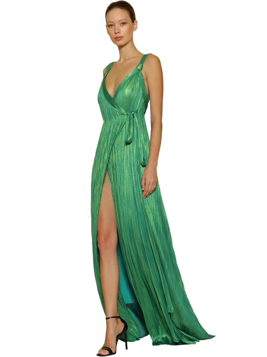 MARIA LUCIA HOHAN Pleated Lurex Silk Tulle Long Dress