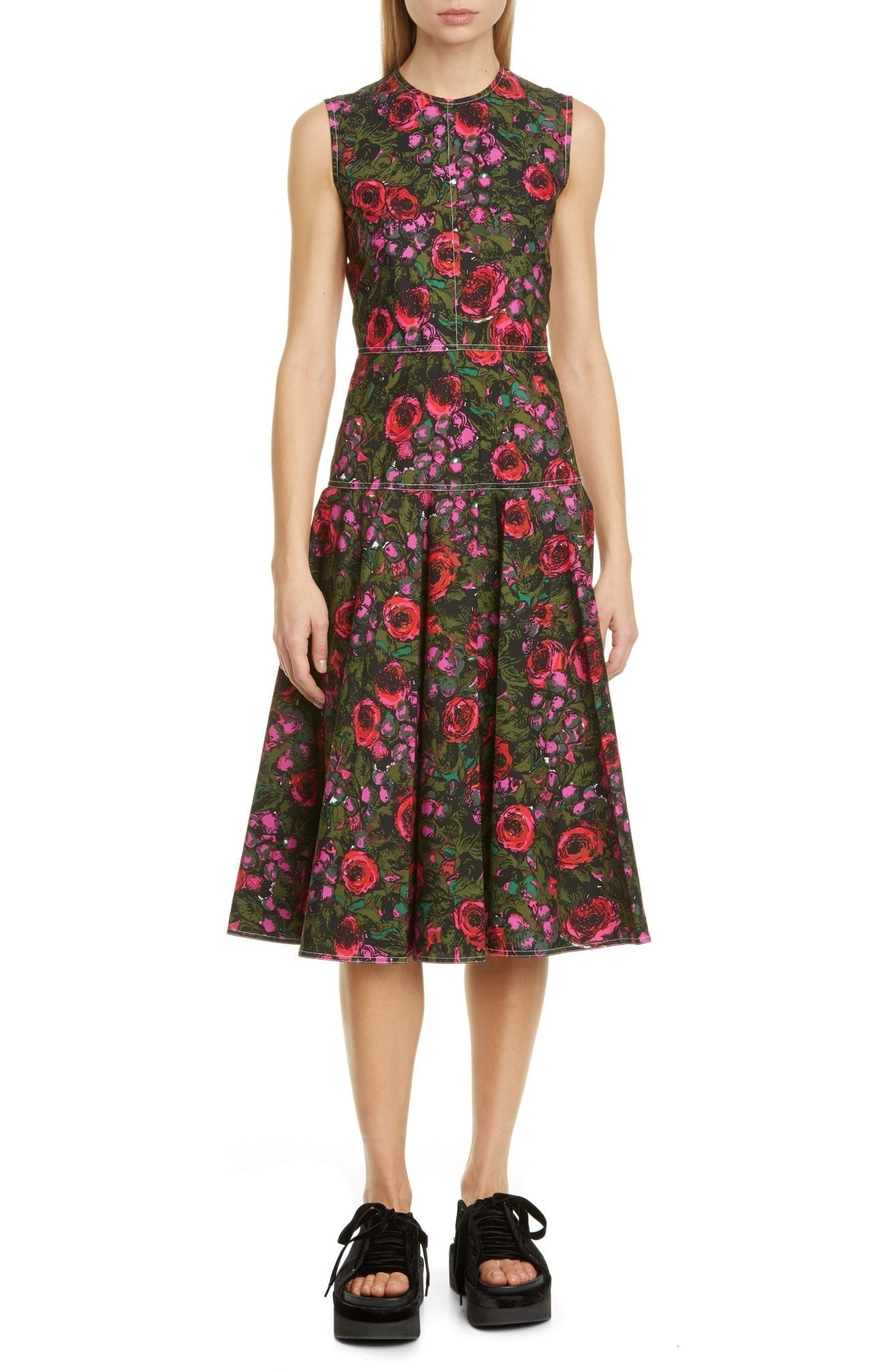 MARNI Floral Sleeveless Cotton Poplin Midi Dress