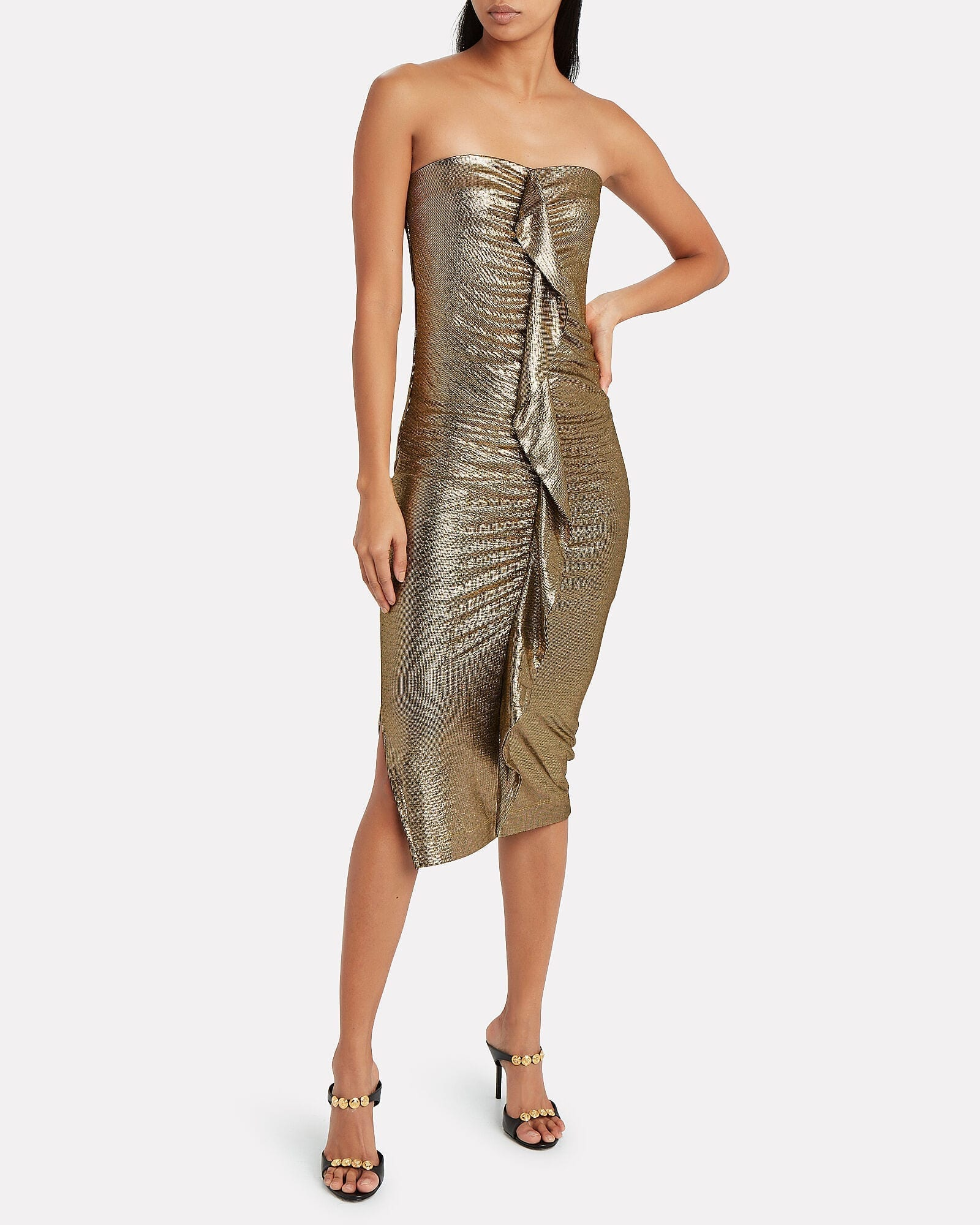MELISSA ODABASH Dru Strapless Metallic Dress