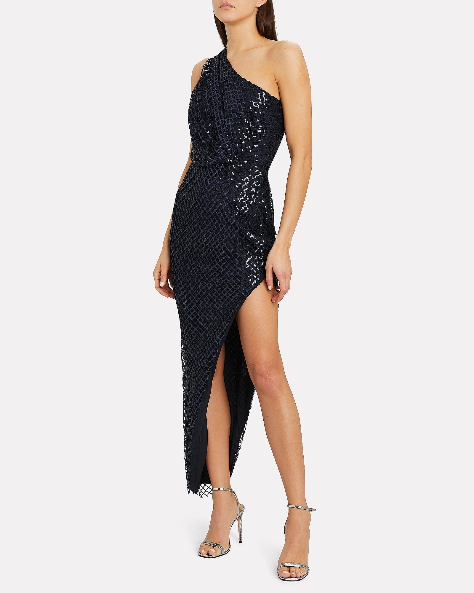 MICHELLE MASON Sequined Netting One-Shoulder Gown