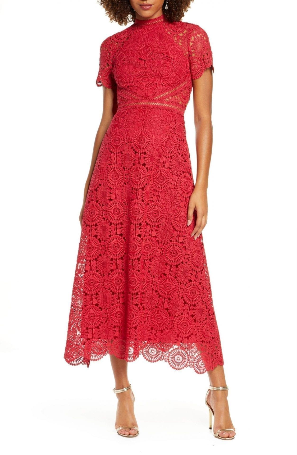 ML MONIQUE LHUILLIER Lace Midi Cocktail Dress