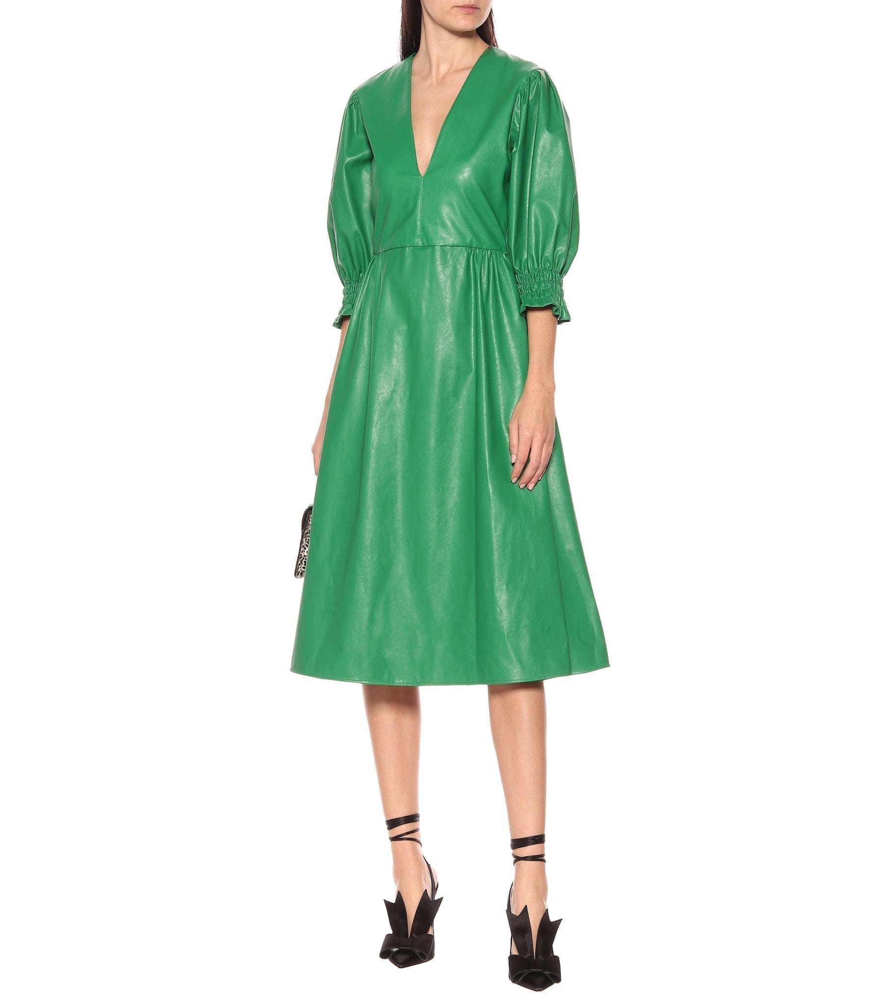 MSGM Faux-leather Midi Dress