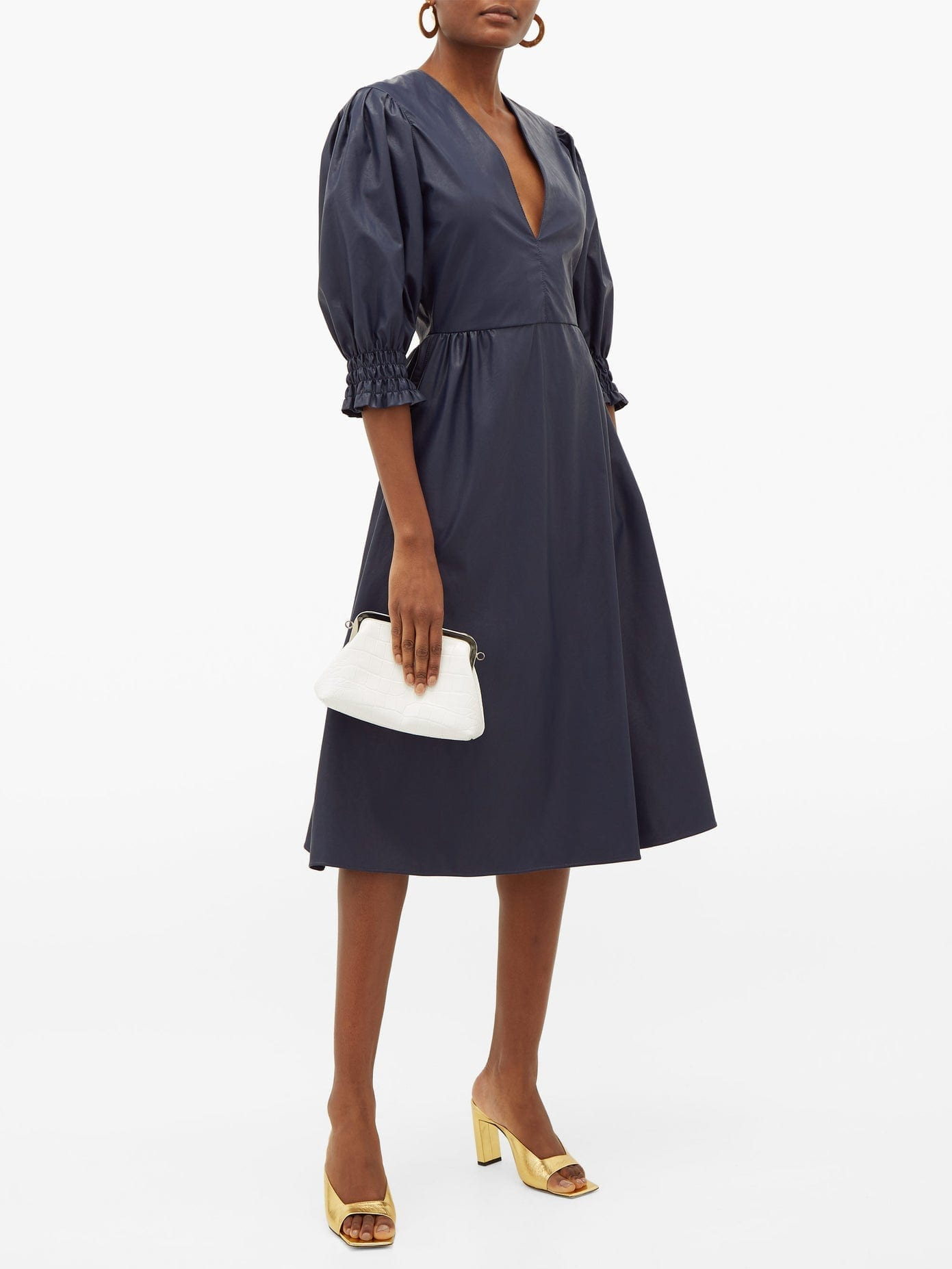 MSGM Shirred-Cuff Faux-Leather Dress