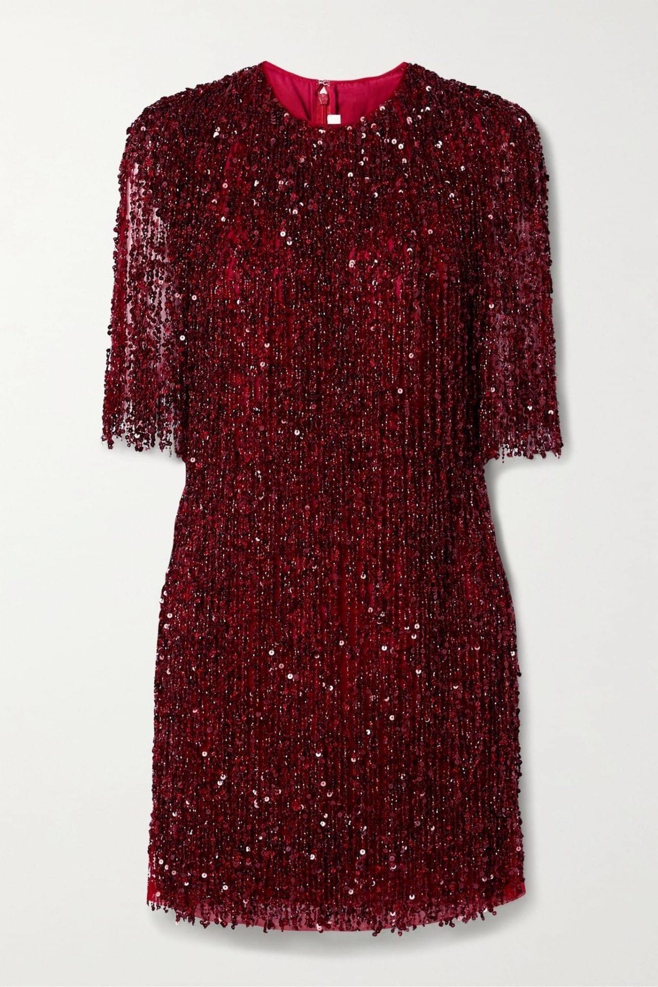 NAEEM KHAN Embellished Fringed Tulle Mini Dress