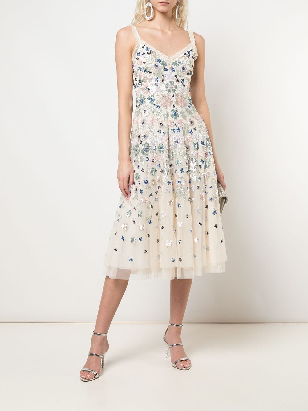 NEEDLE & THREAD Sequin-Embellished A-line Midi Dress