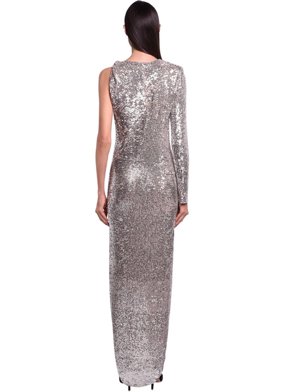NERVI Sequined Stretch Side Slit Long Dress