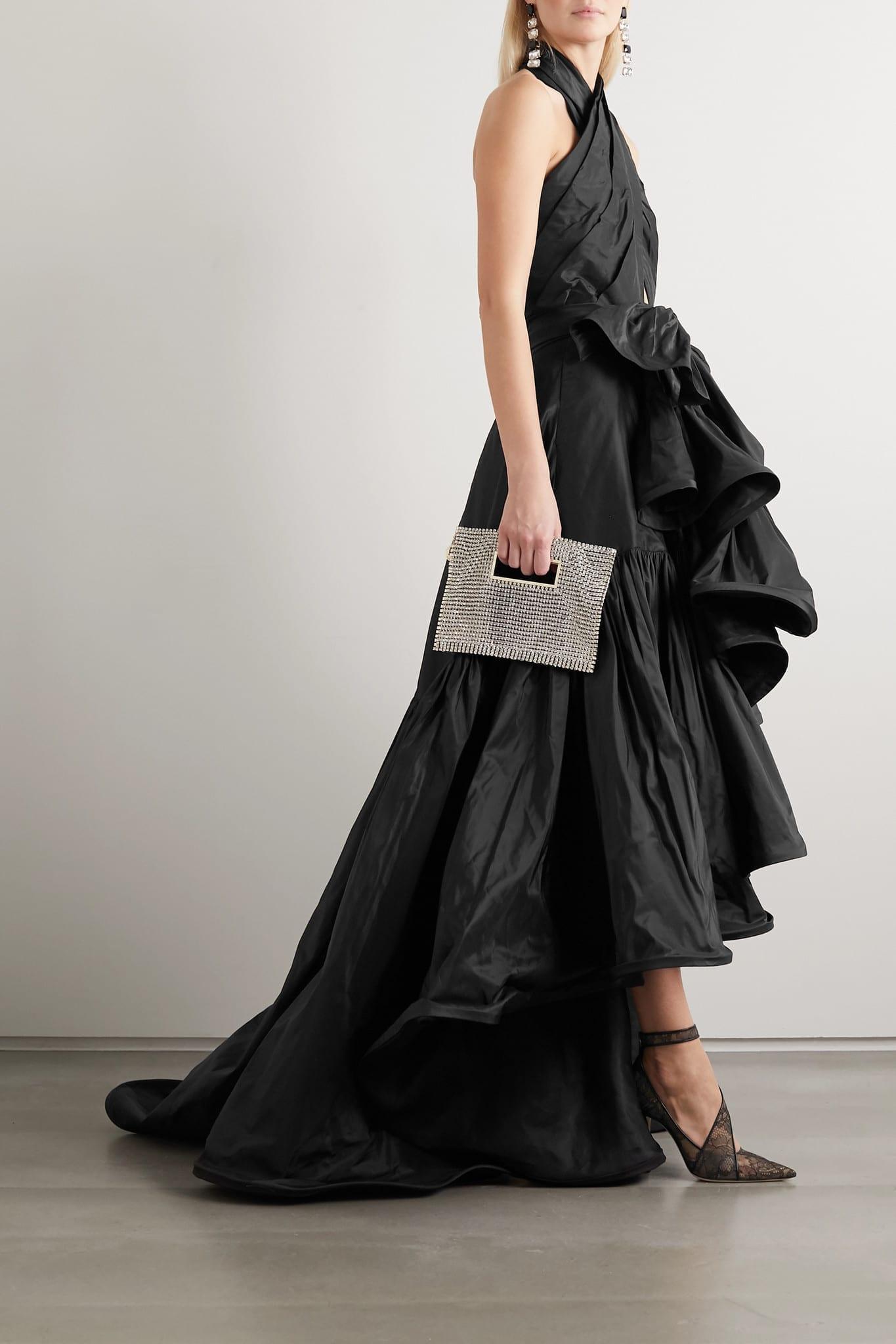 OSCAR DE LA RENTA Asymmetric Cutout Silk-taffeta Halterneck Gown