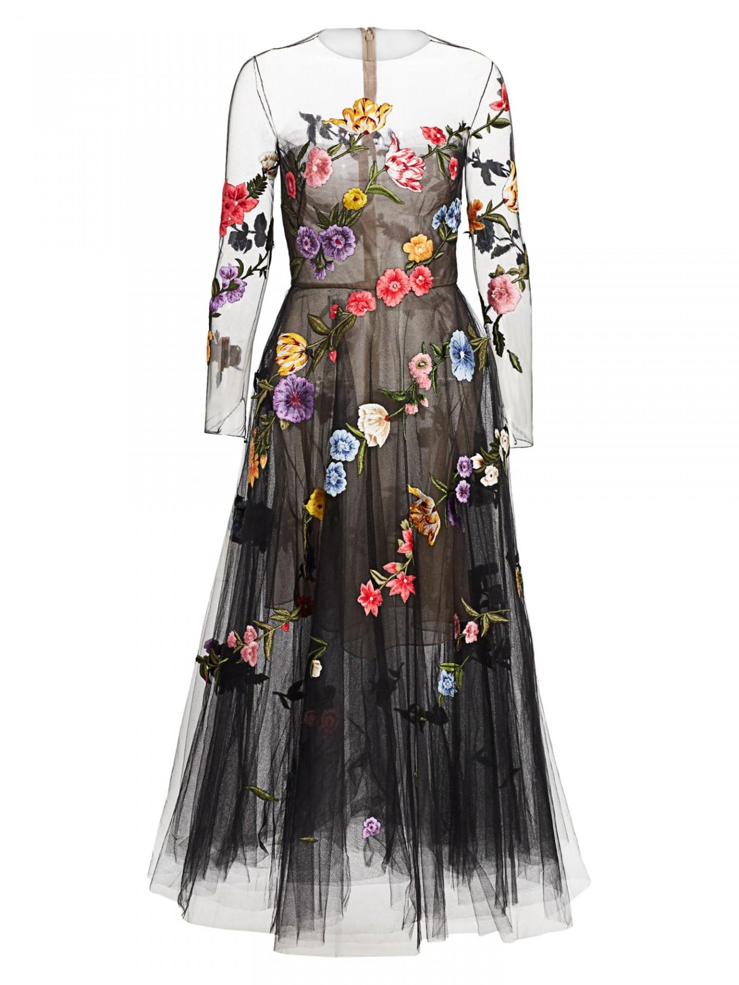 OSCAR DE LA RENTA Garden Fantasy Sheer Cocktail Dress