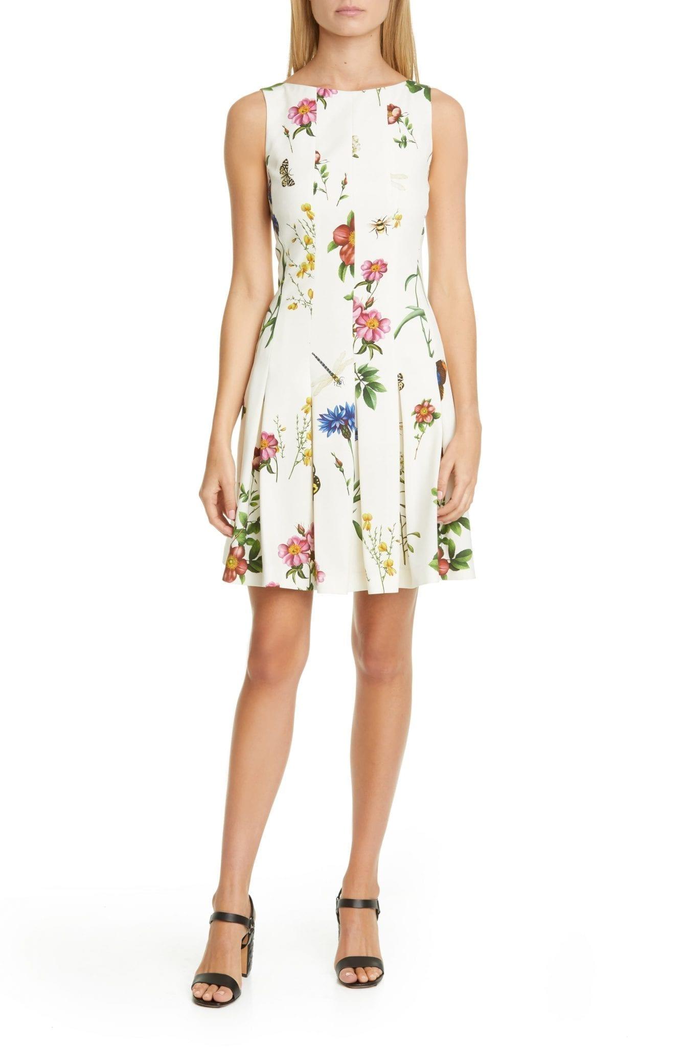 OSCAR DE LA RENTA Ladies Pleated Floral Mini Dress