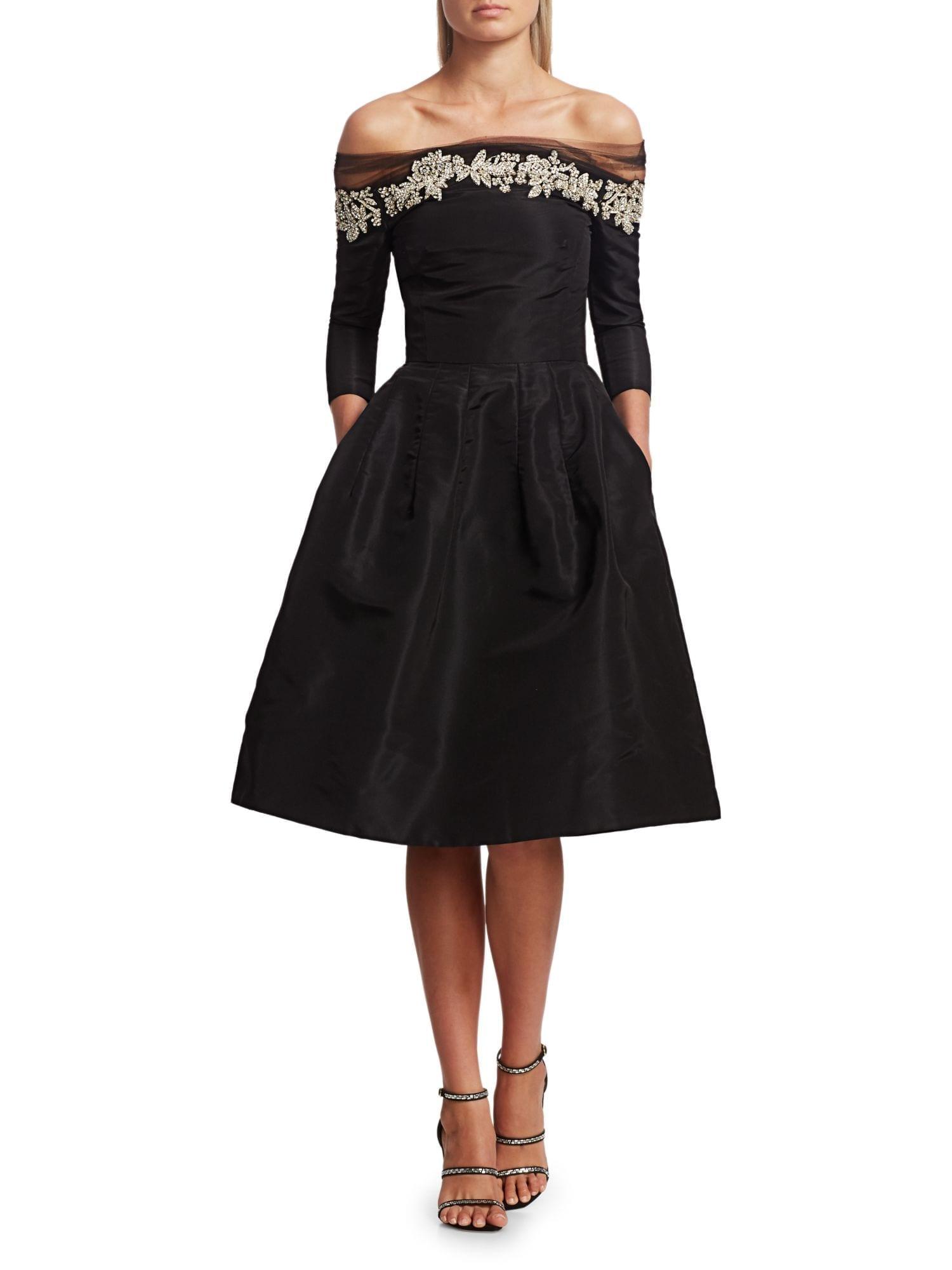 OSCAR DE LA RENTA Off-The-Shoulder Crystal Embellished Cocktail Dress