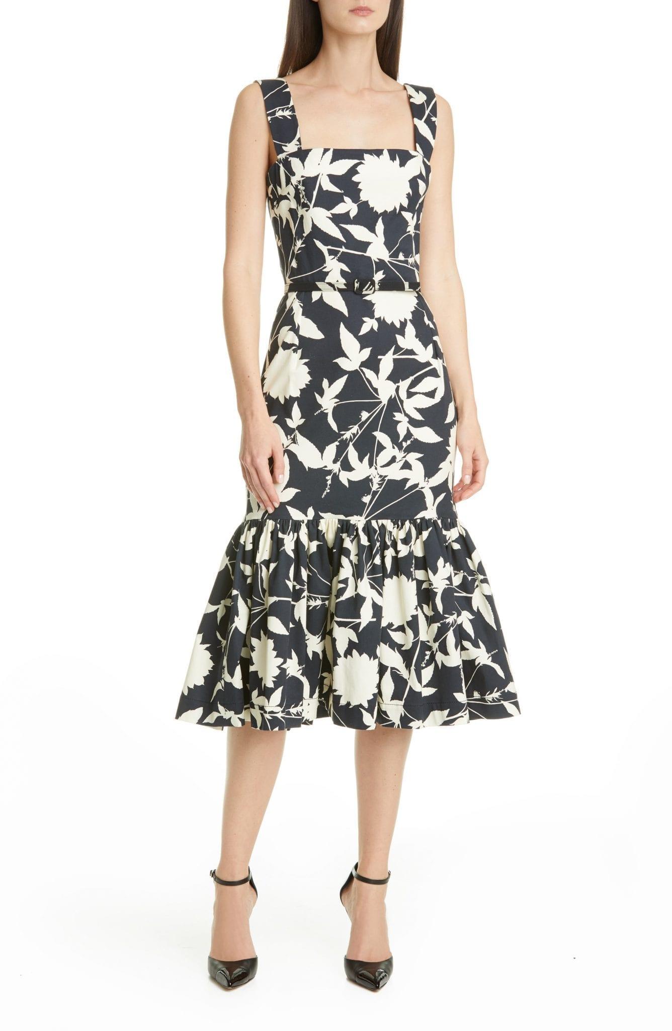 OSCAR DE LA RENTA Ruffle Hem Floral Stretch Twill Midi Dress