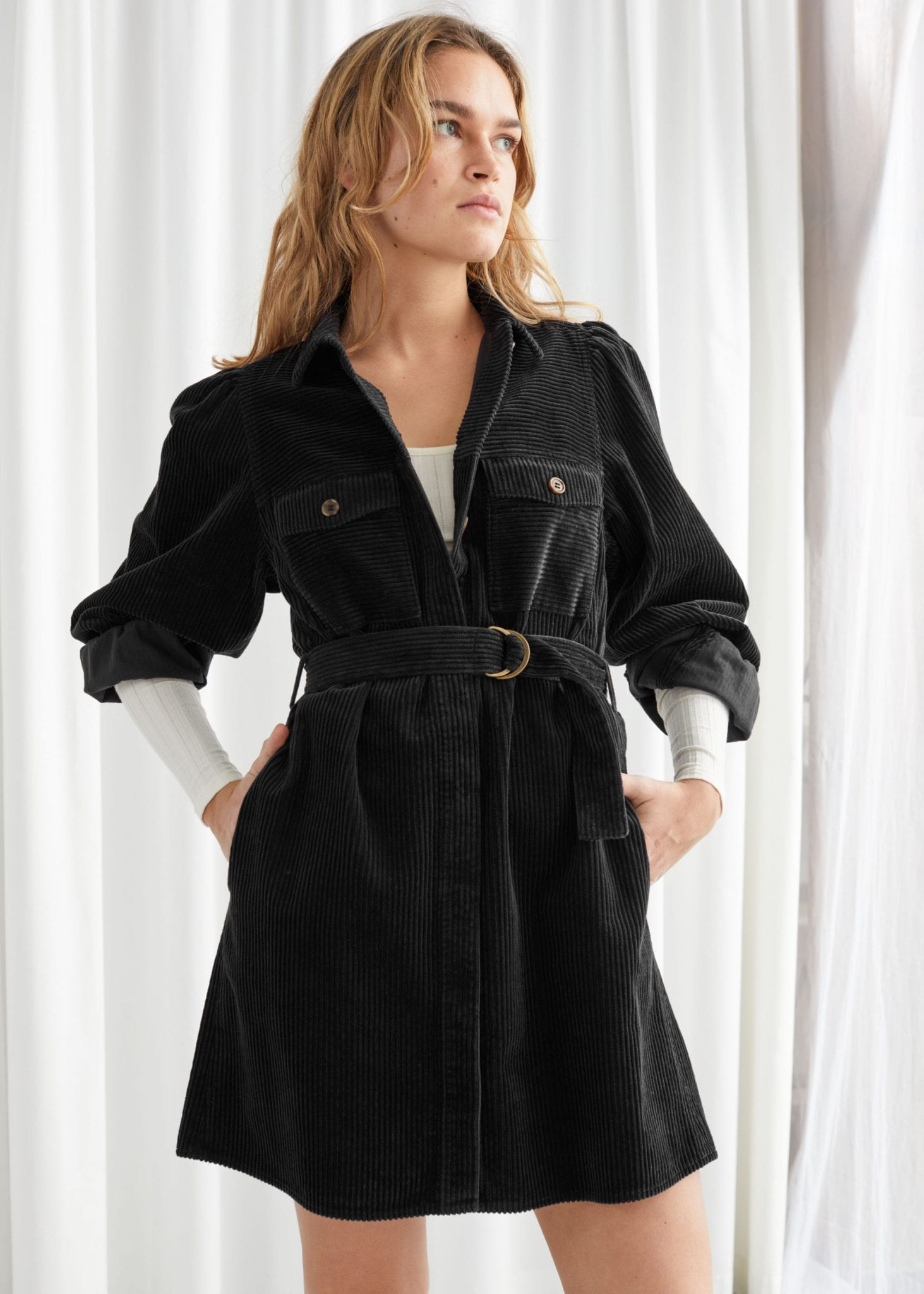 & OTHER STORIES Belted Corduroy Mini Dress
