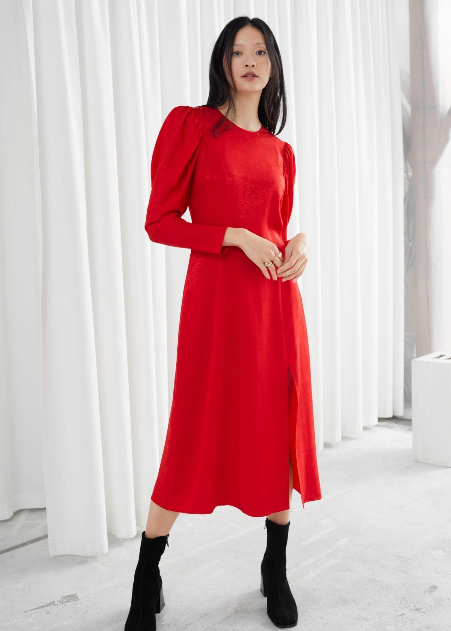 & OTHER STORIES Jacquard Puff Sleeve Midi Slit Dress