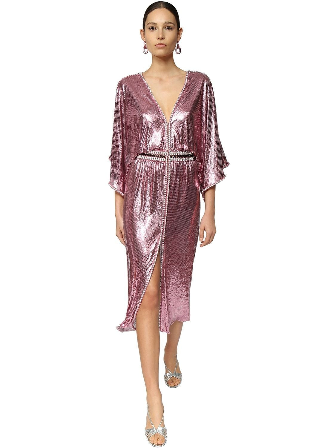 PACO RABANNE Crystals & Metal Mesh Midi Dress