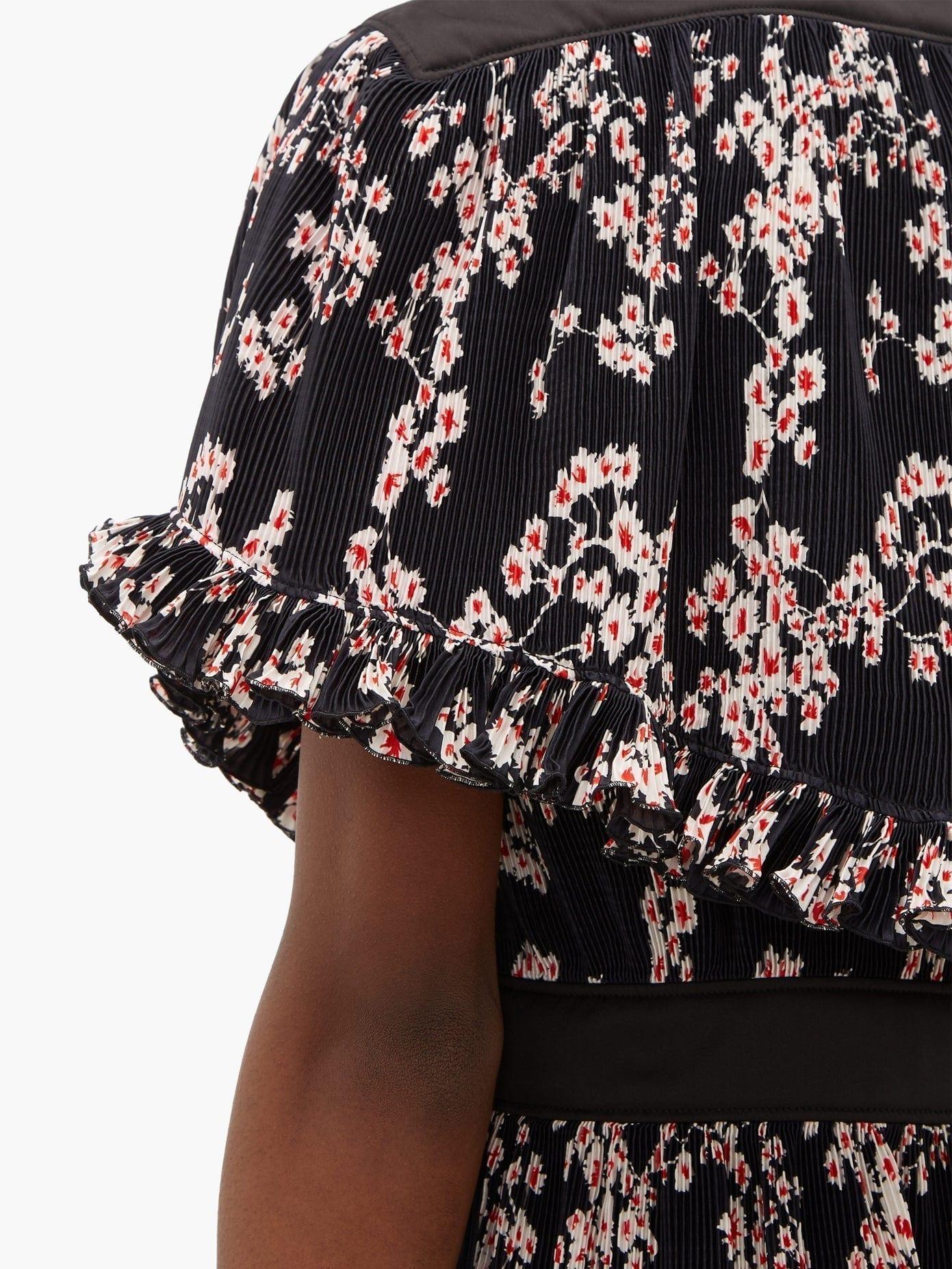 PACO RABANNE Floral-Print Plissé Midi Dress