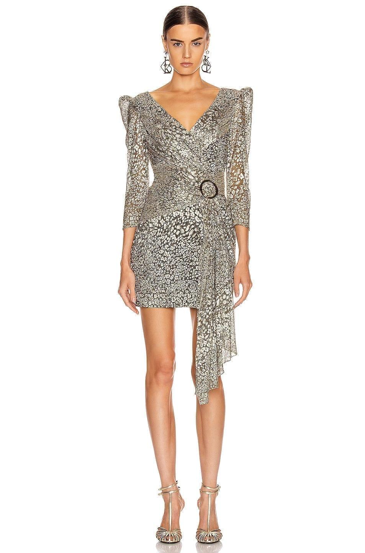PATBO Metallic Leopard Drape Mini Dress