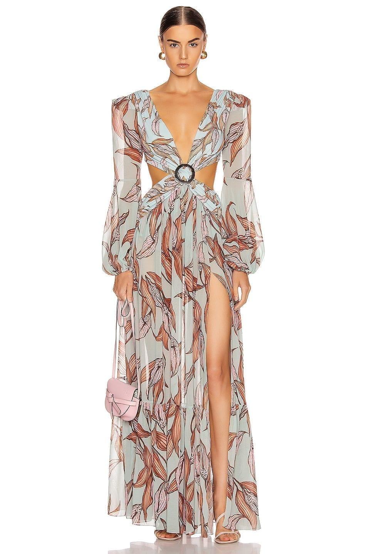 PATBO Printed Long Sleeve Cutout Dress