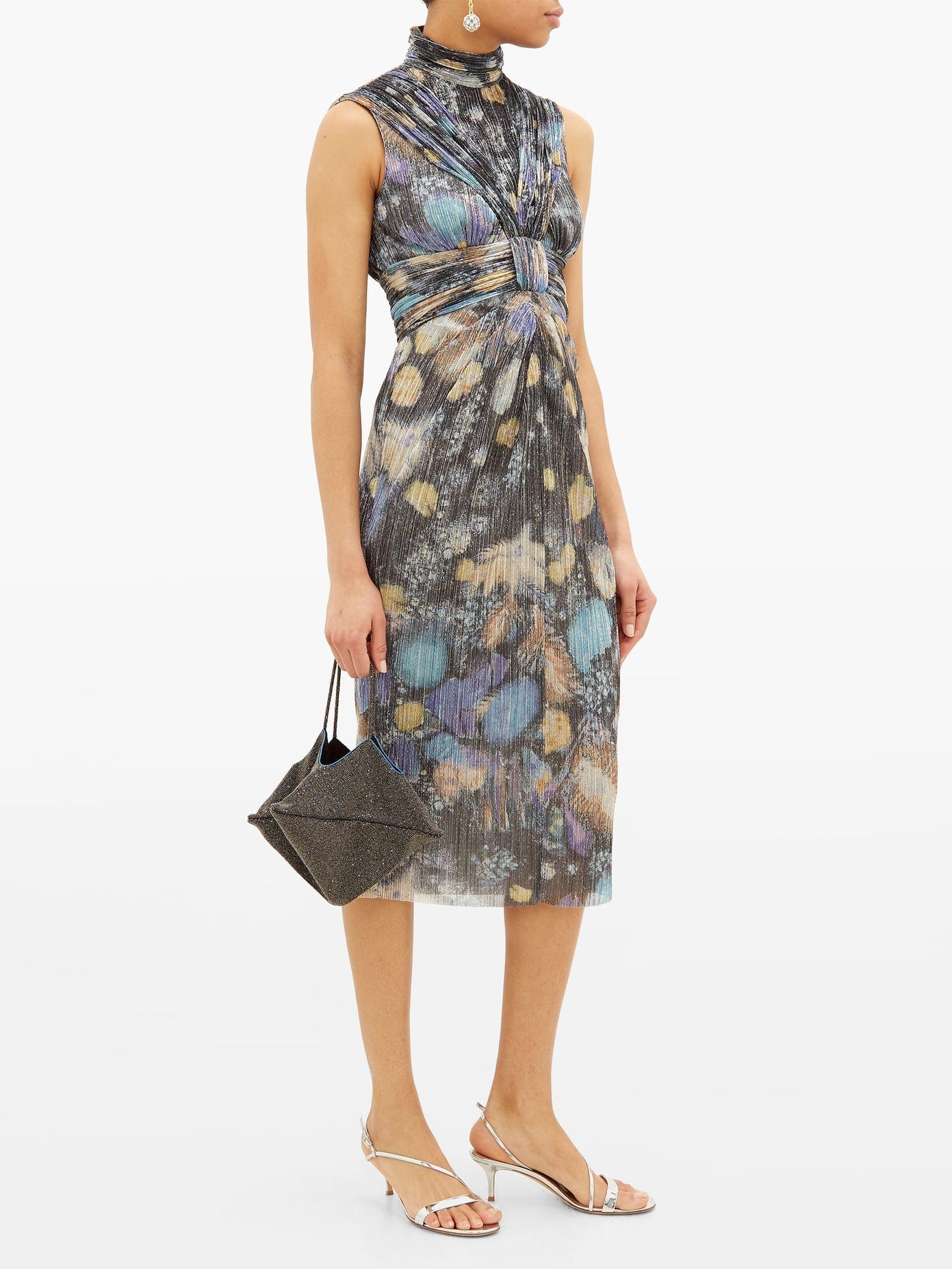 PETER PILOTTO Fireworks-print Plissé Lamé Dress