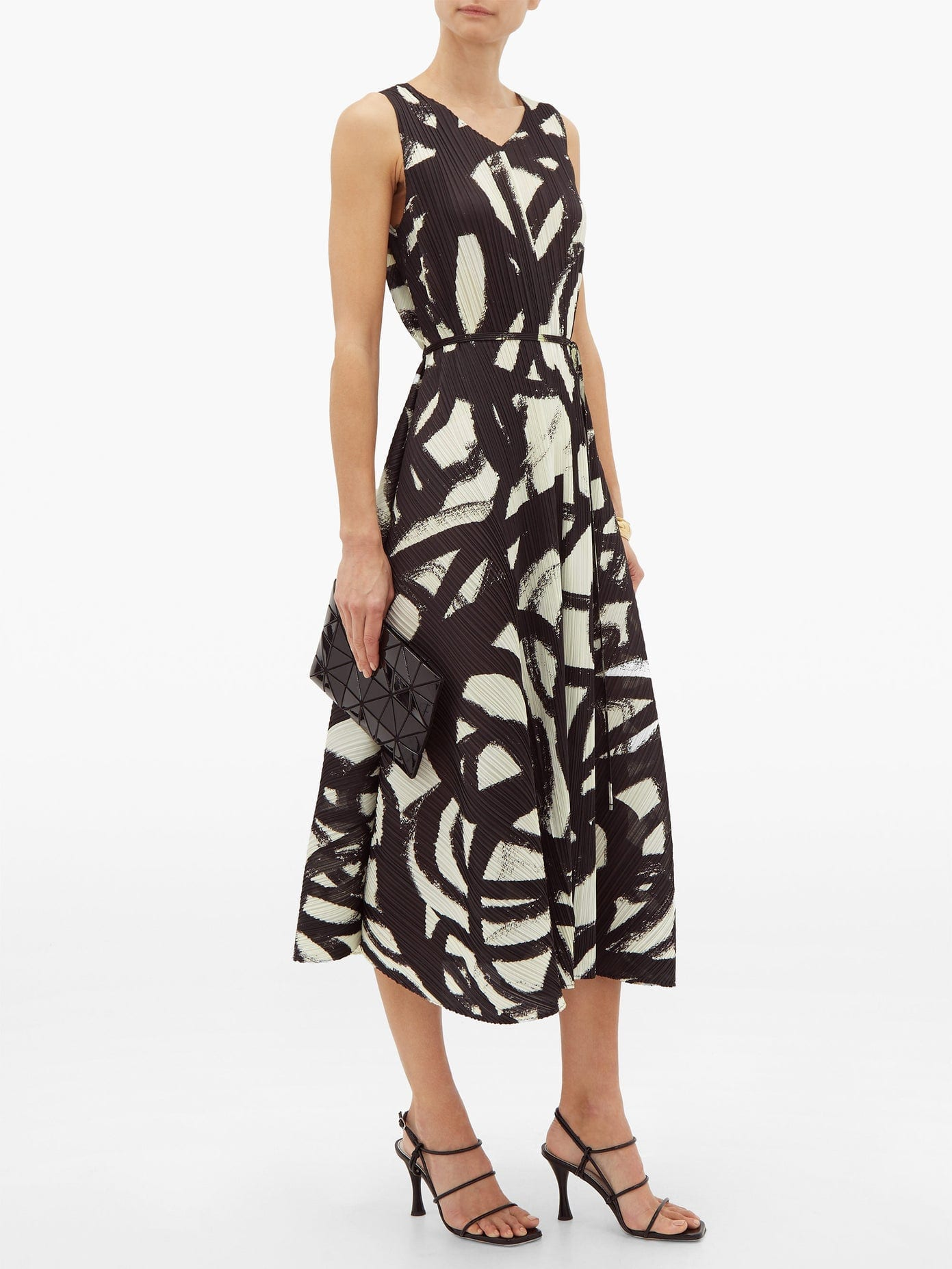 PLEATS PLEASE ISSEY MIYAKE Brushstroke-print Pleated Trapeze Dress