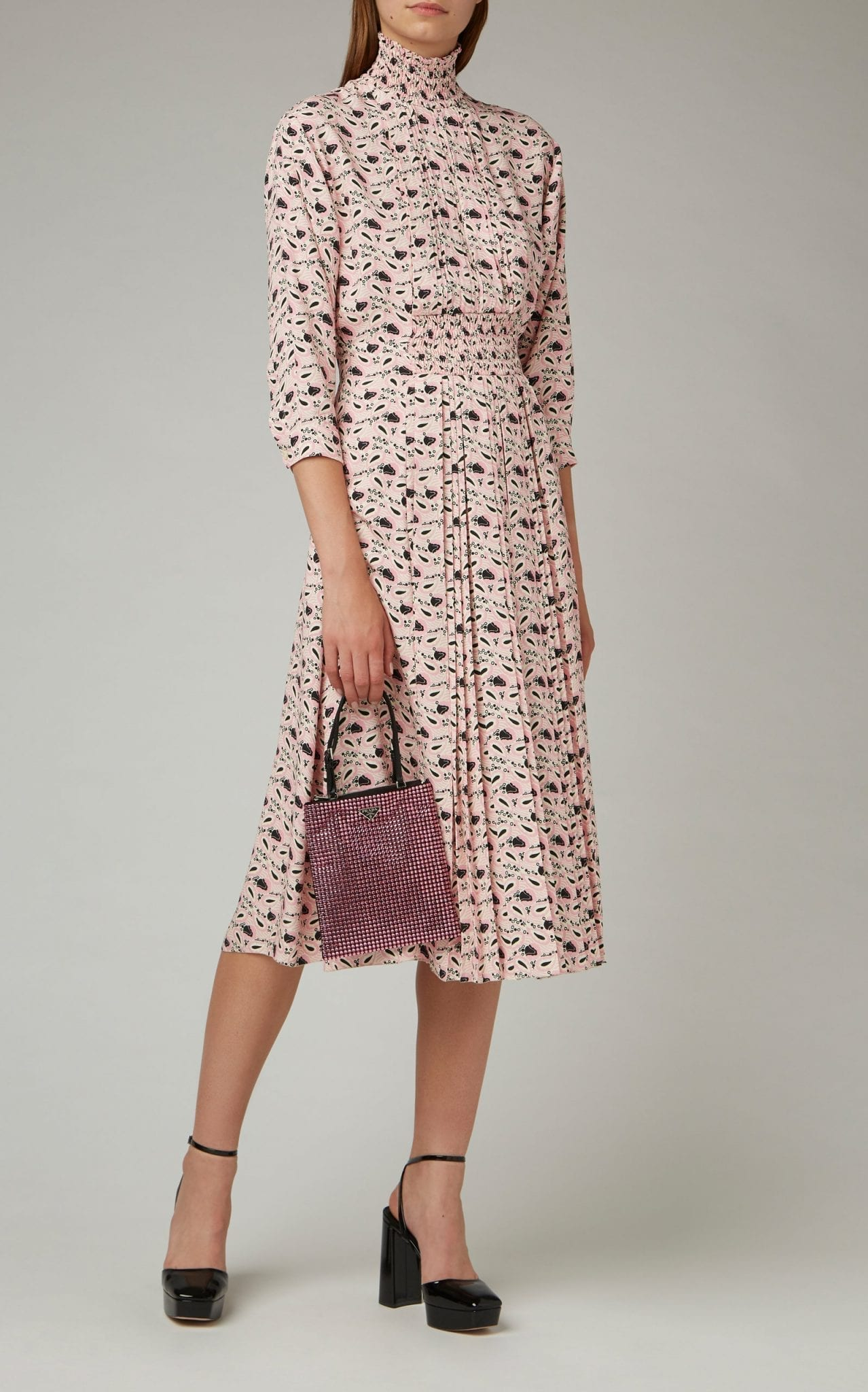 PRADA Smocked Printed Crepe Midi Dress