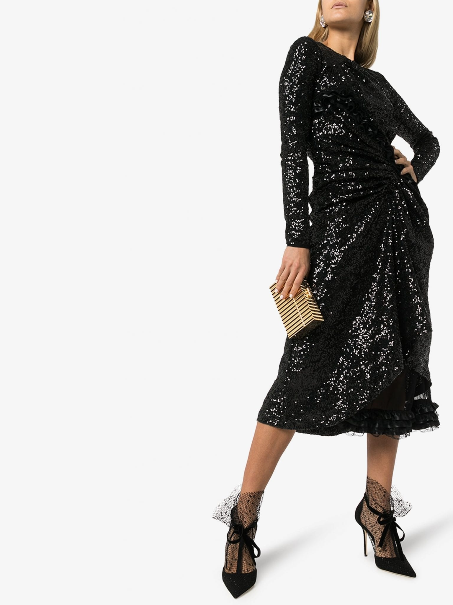 PREEN BY THORNTON BREGAZZI Farra Draped Sequin Midi Dress