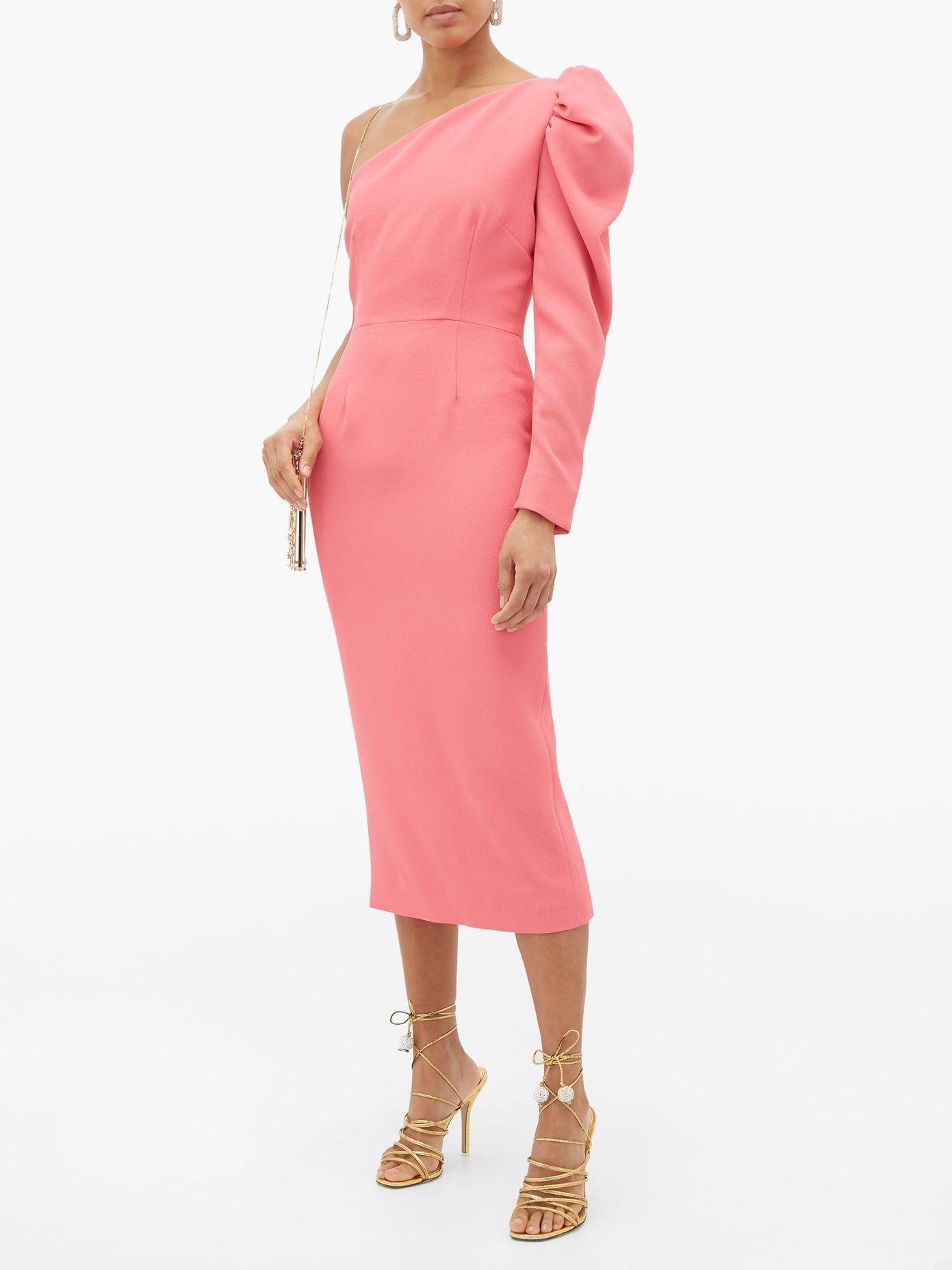 RACIL Gaia One-shoulder Puff-sleeve Crepe Dress