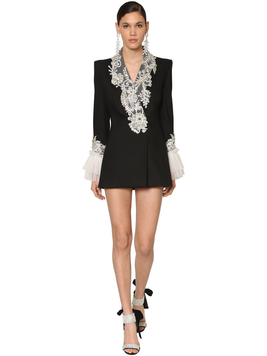 RAISA & VANESSA Embellished Twill Jacket Dress