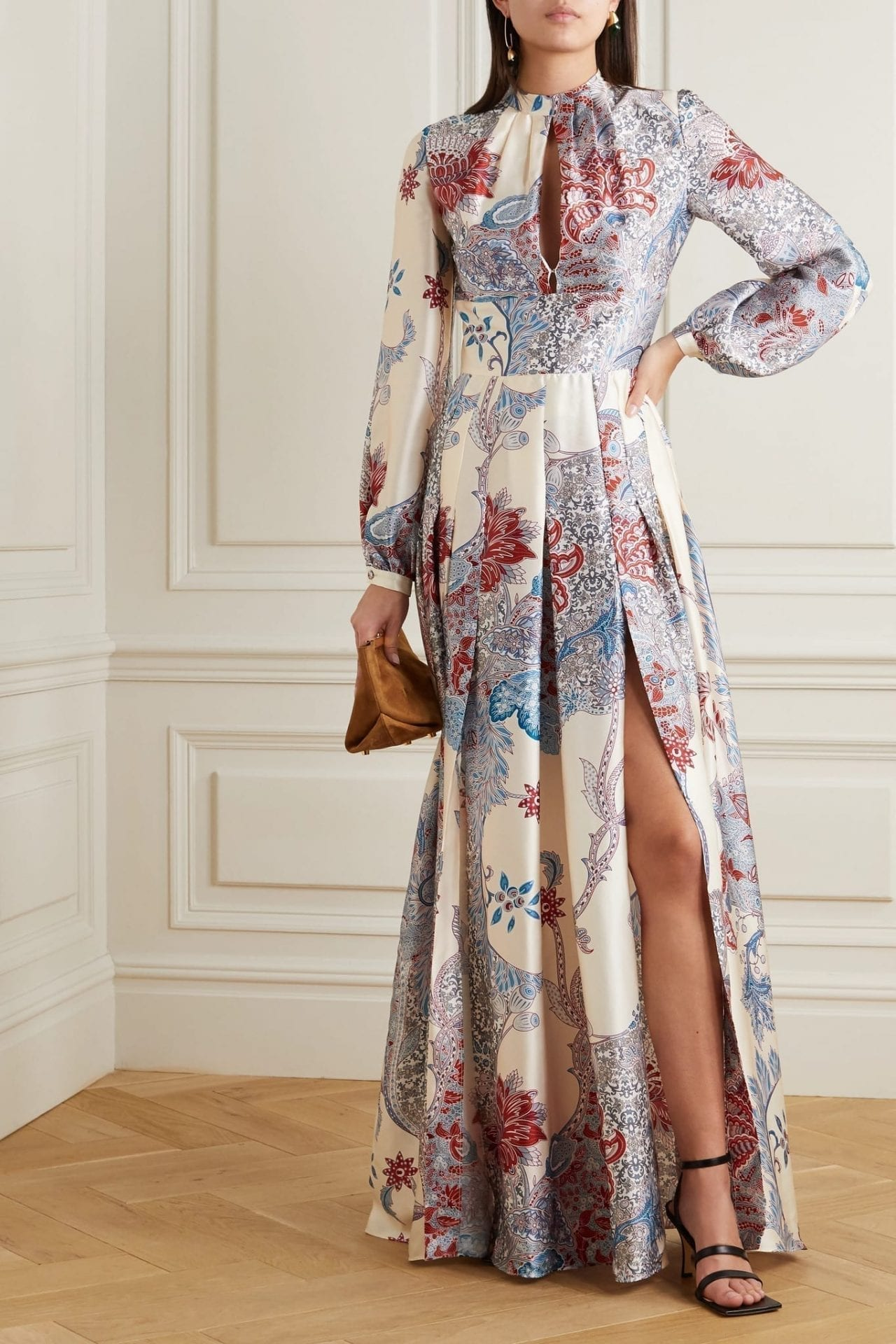 RAQUEL DINIZ Alma Printed Silk-satin Maxi Dress