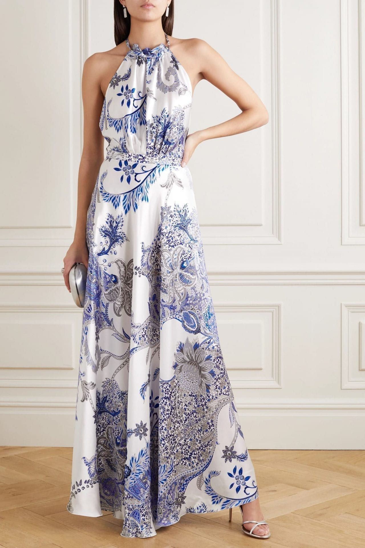 RAQUEL DINIZ Giovanna Printed Silk-satin Halterneck Maxi Dress