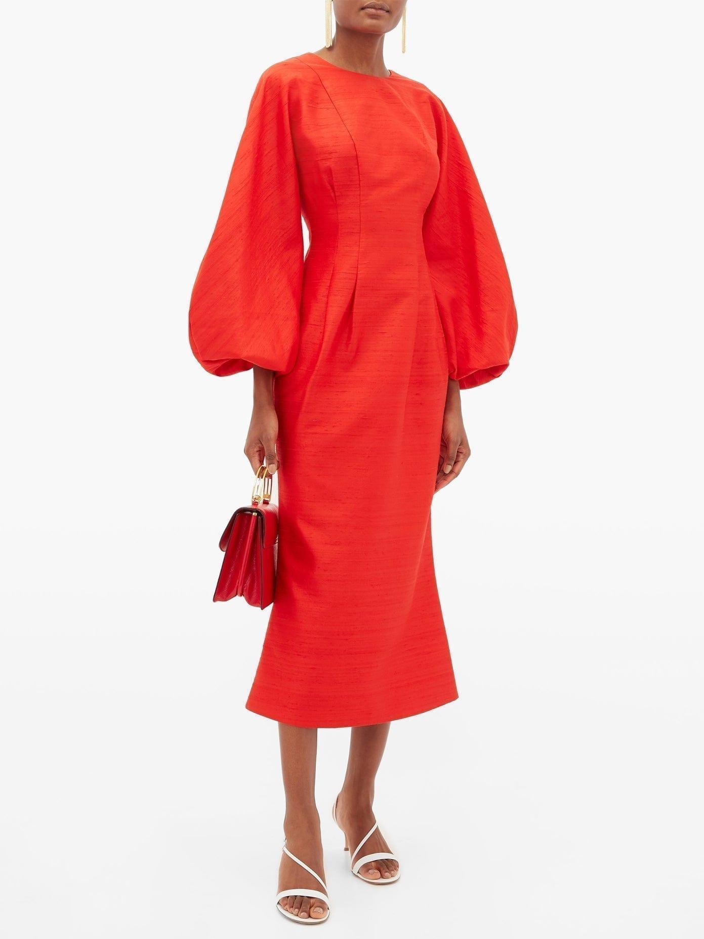 RASARIO Balloon-sleeve Raw-silk Dress