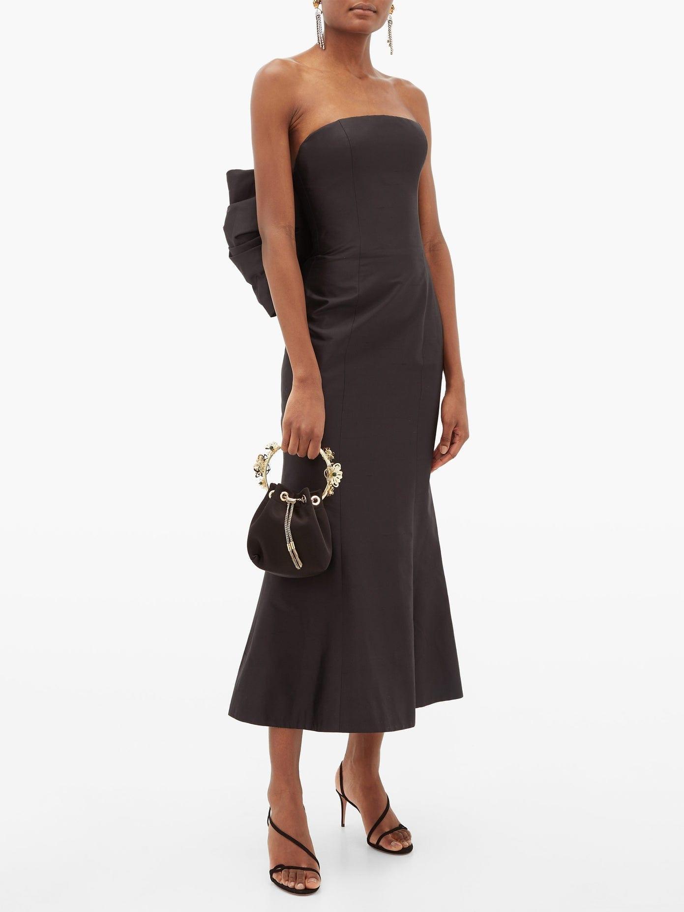 RASARIO Bow-back Silk-dupion Gown