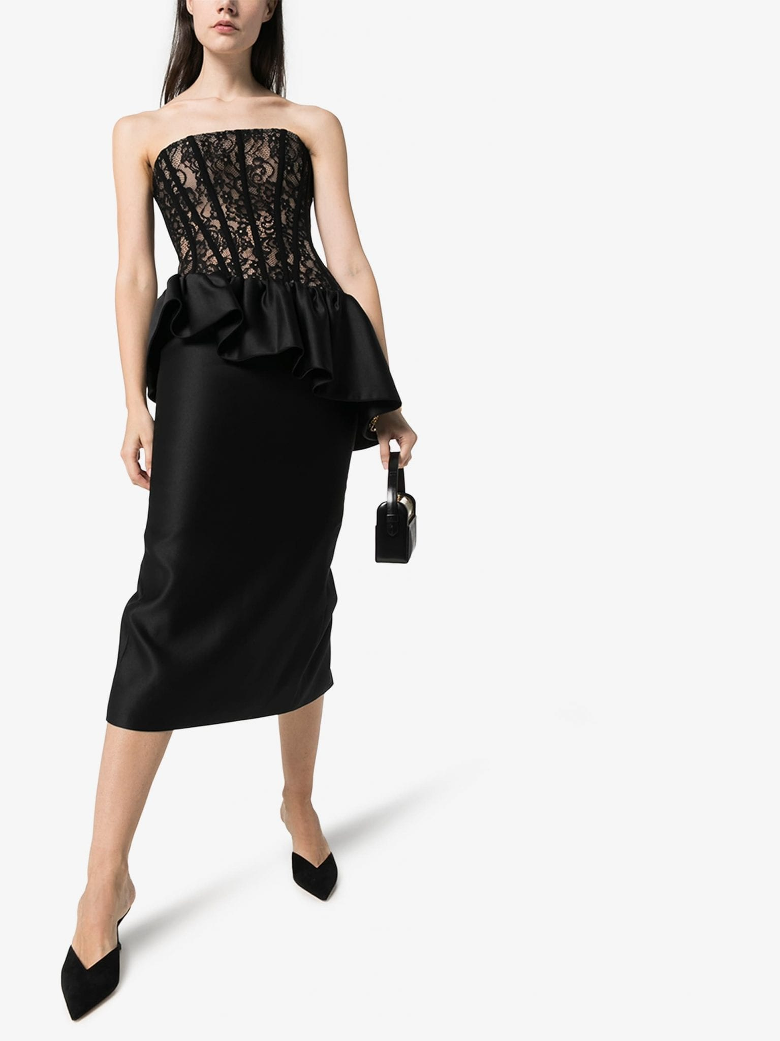 RASARIO Corseted Lace And Silk Midi Dress