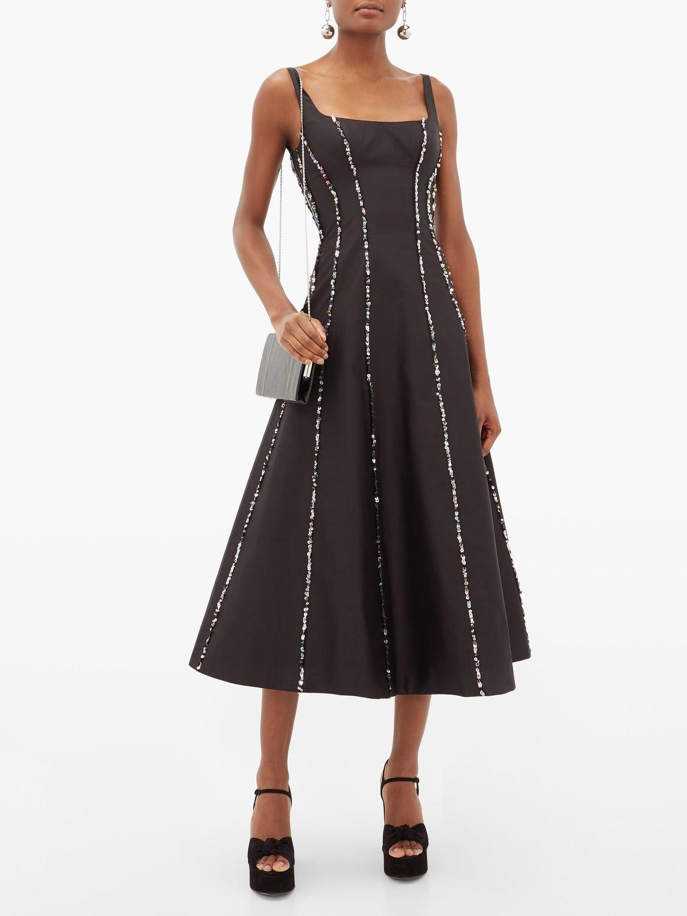 RASARIO Sequinned Scoop-neck Silk Midi Dress