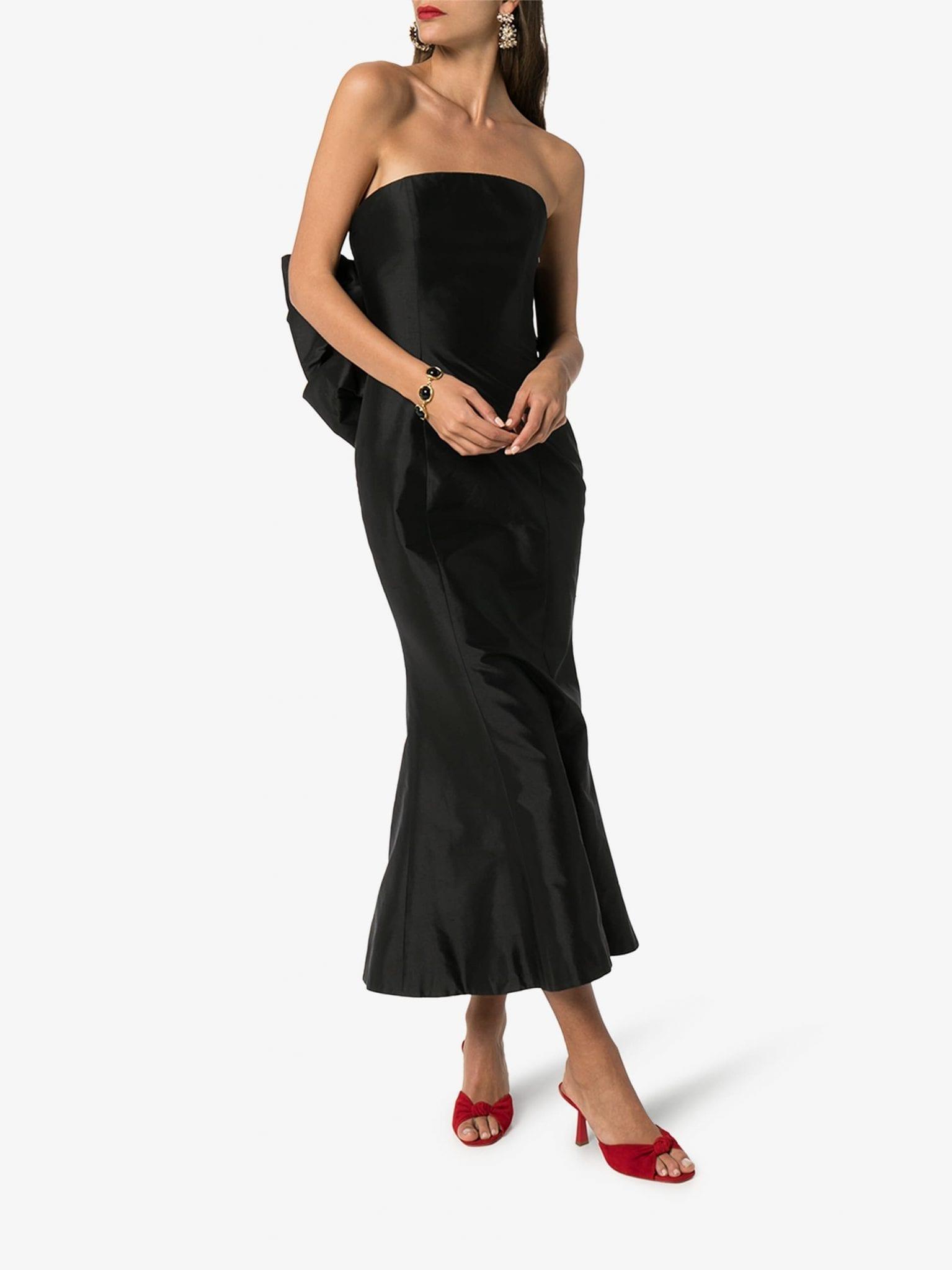 RASARIO Strapless Bow Back Silk Dress