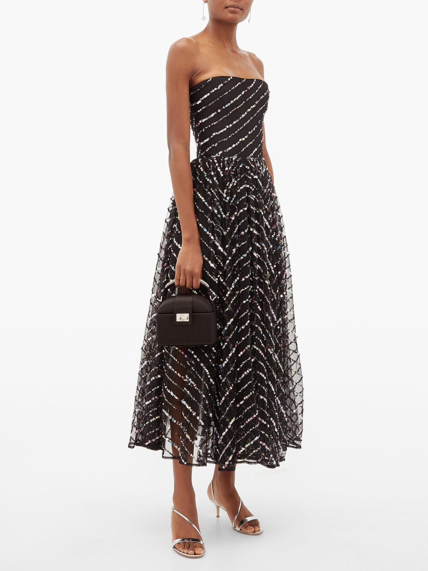 RASARIO Strapless Sequinned Tulle Midi Dress