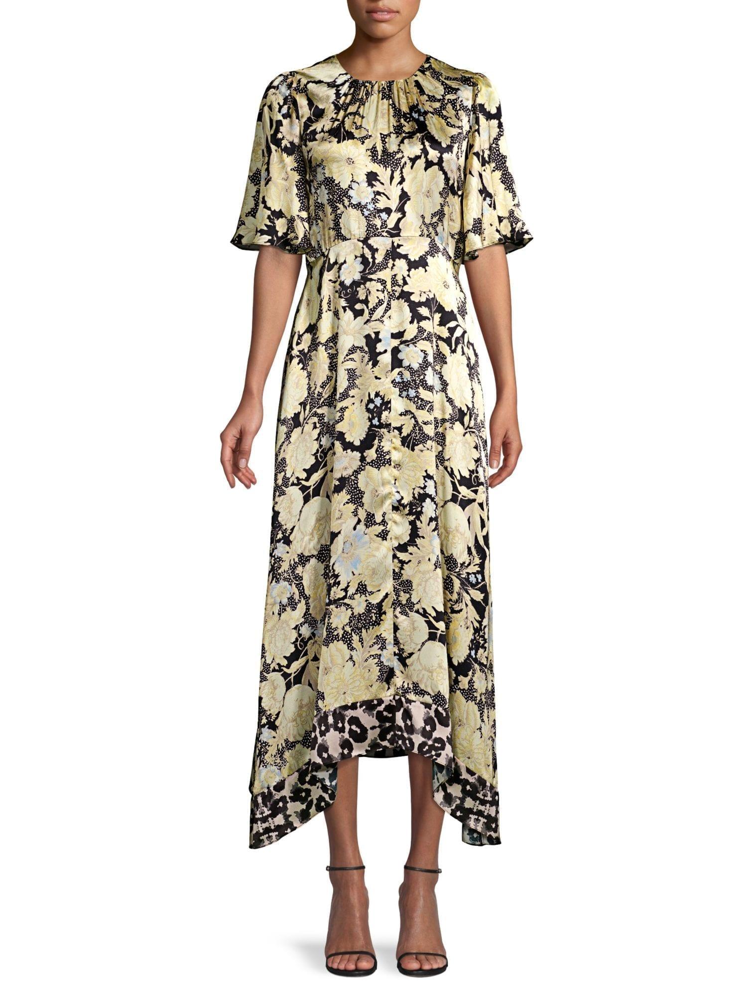 REBECCA TAYLOR Floral Handkerchief Silk Dress