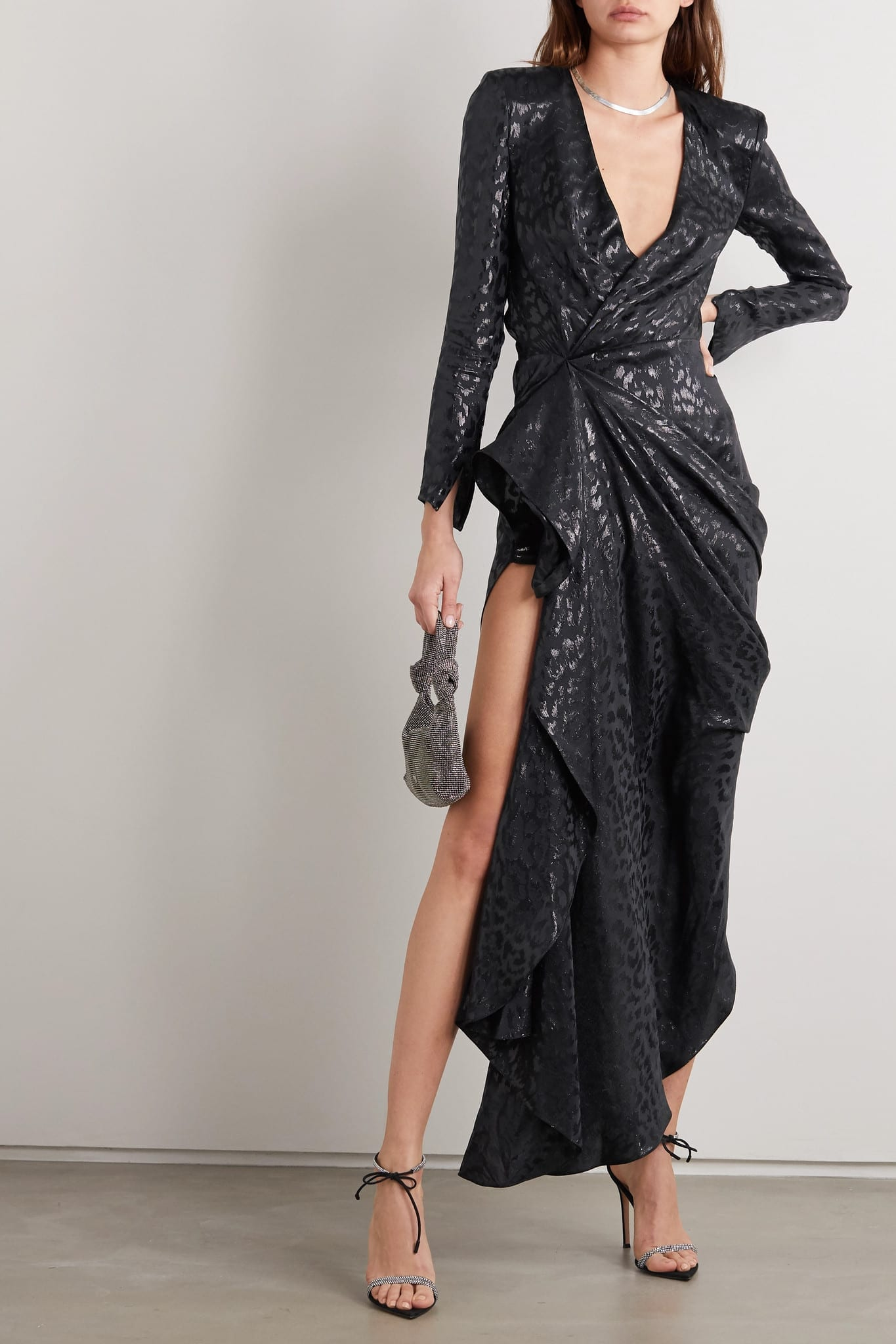REDEMPTION Draped Metallic Fil Coupé Silk-blend Gown