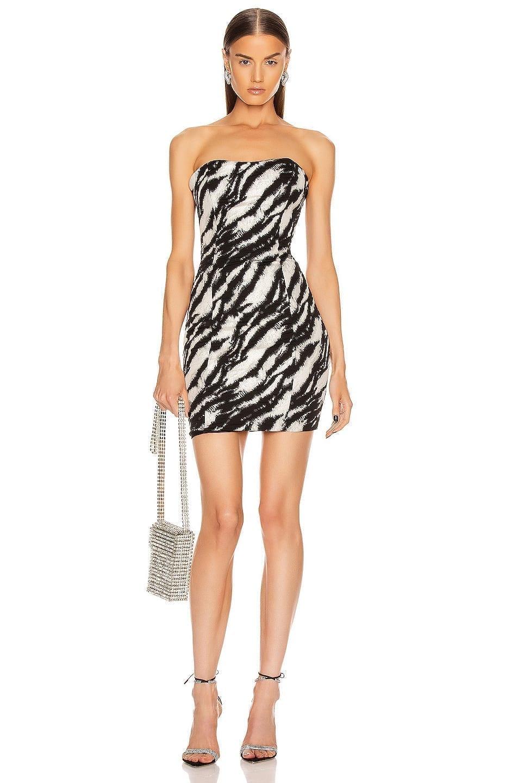 REDEMPTION Jacquard Straight Strapless Dress