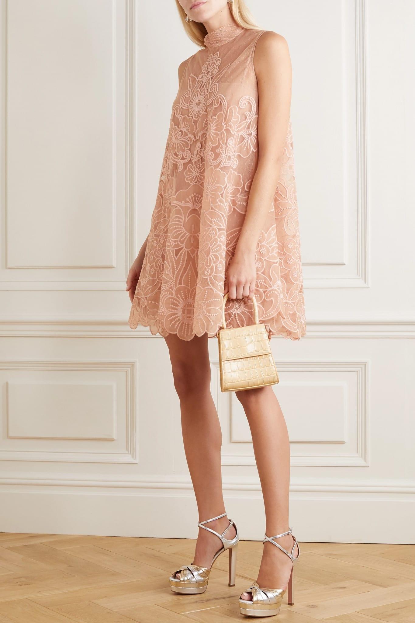 REDVALENTINO Aline Embroidered Point D'esprit Tulle Mini Dress