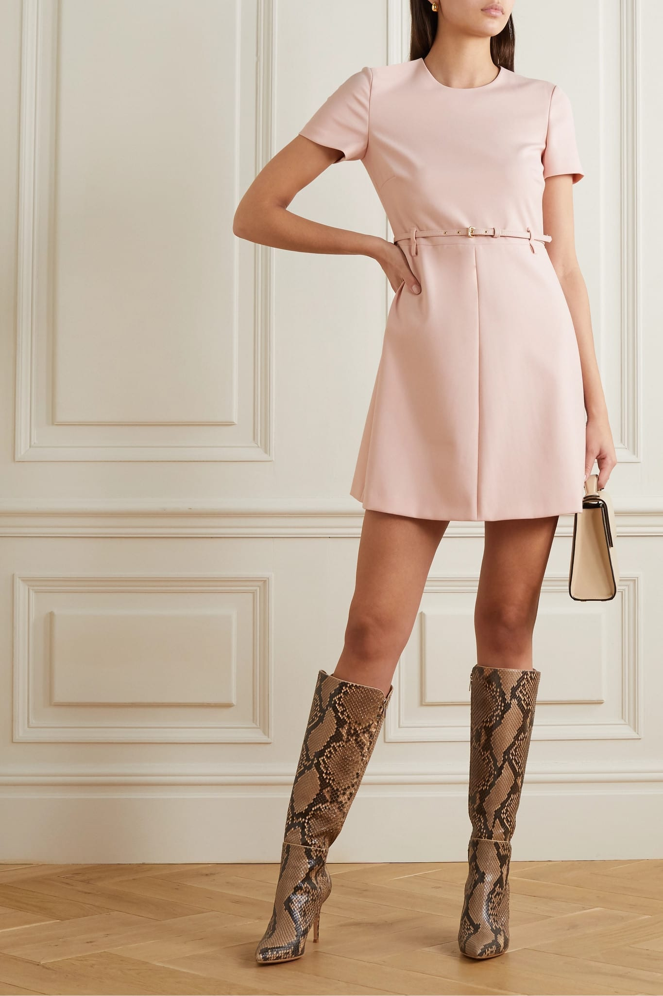 REDVALENTINO Belted Crepe Mini Dress