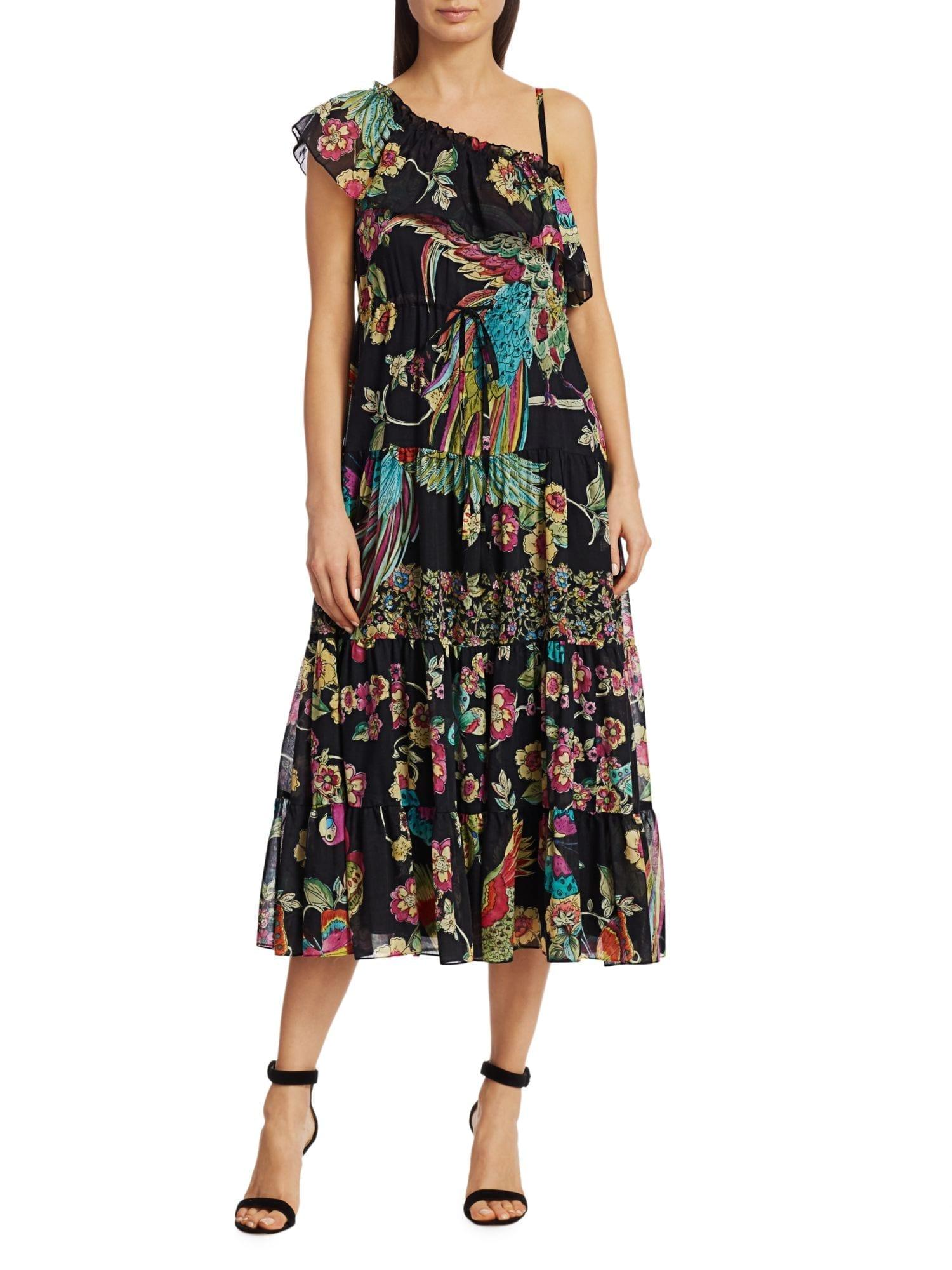 REDVALENTINO Bird-Printed One-Shoulder Dress
